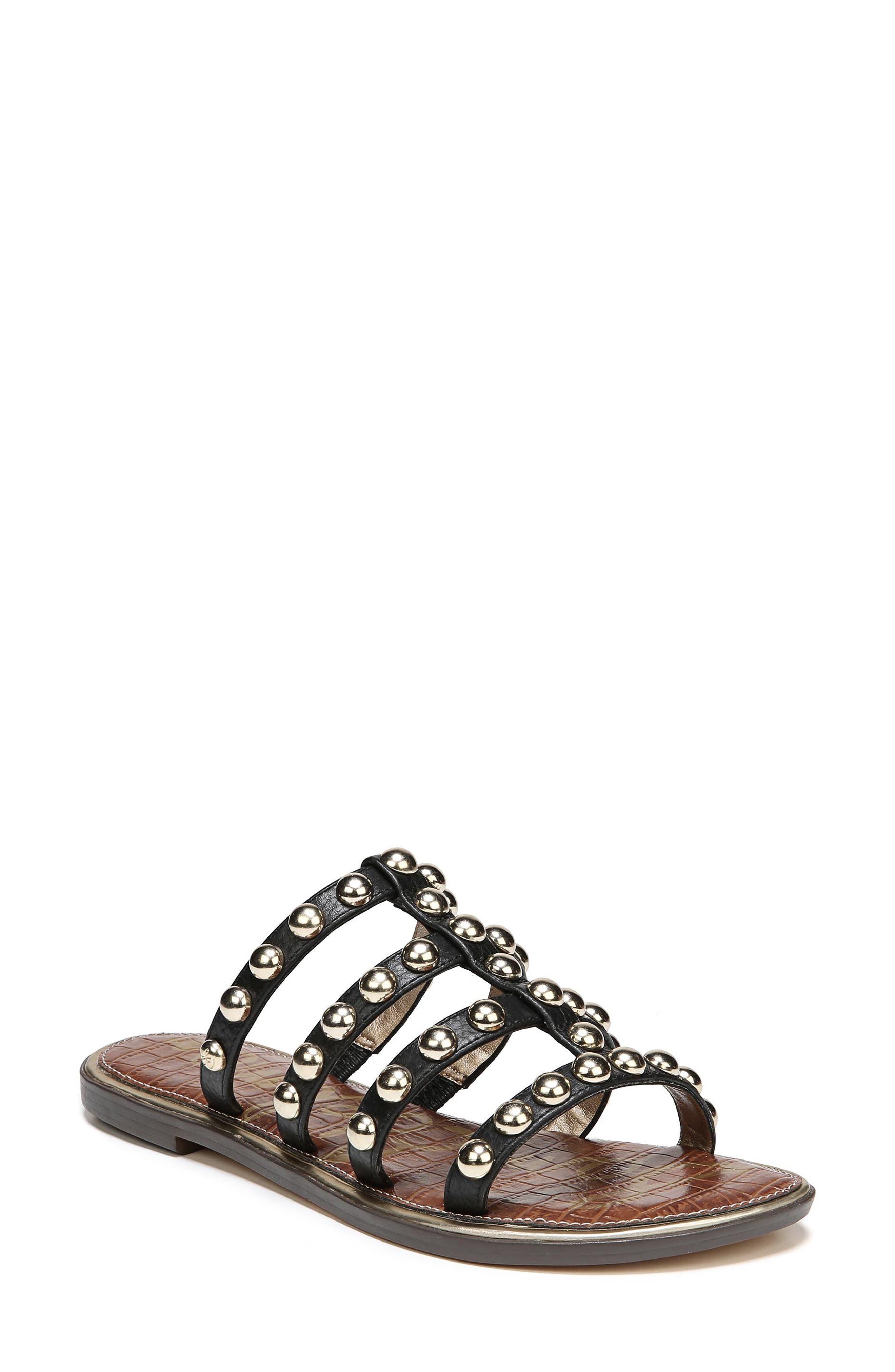 Glenn Studded Slide Sandal,                         Main,                         color, Black Leather