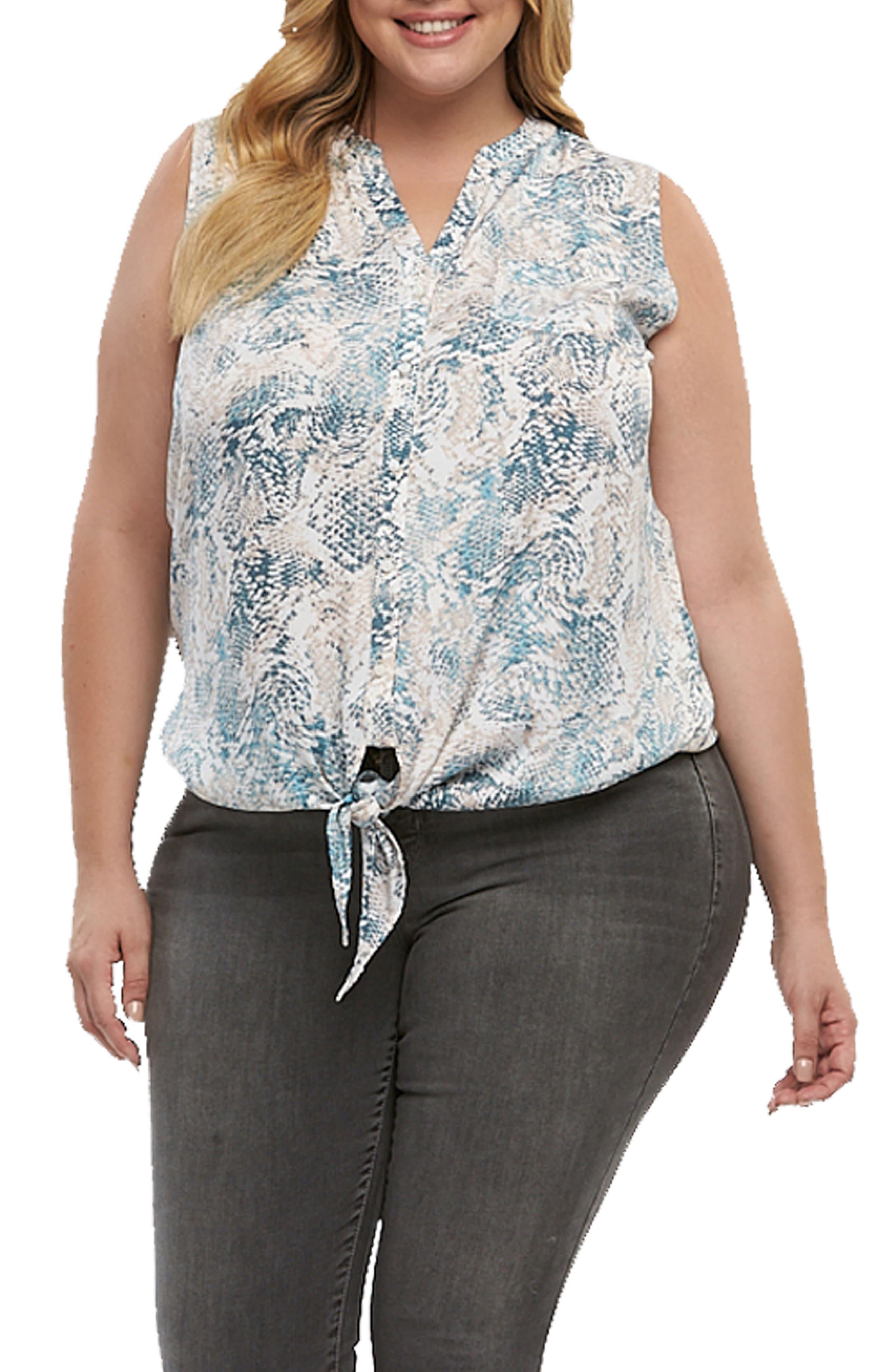 Tart Liya Print Tie Hem Top (Plus Size)