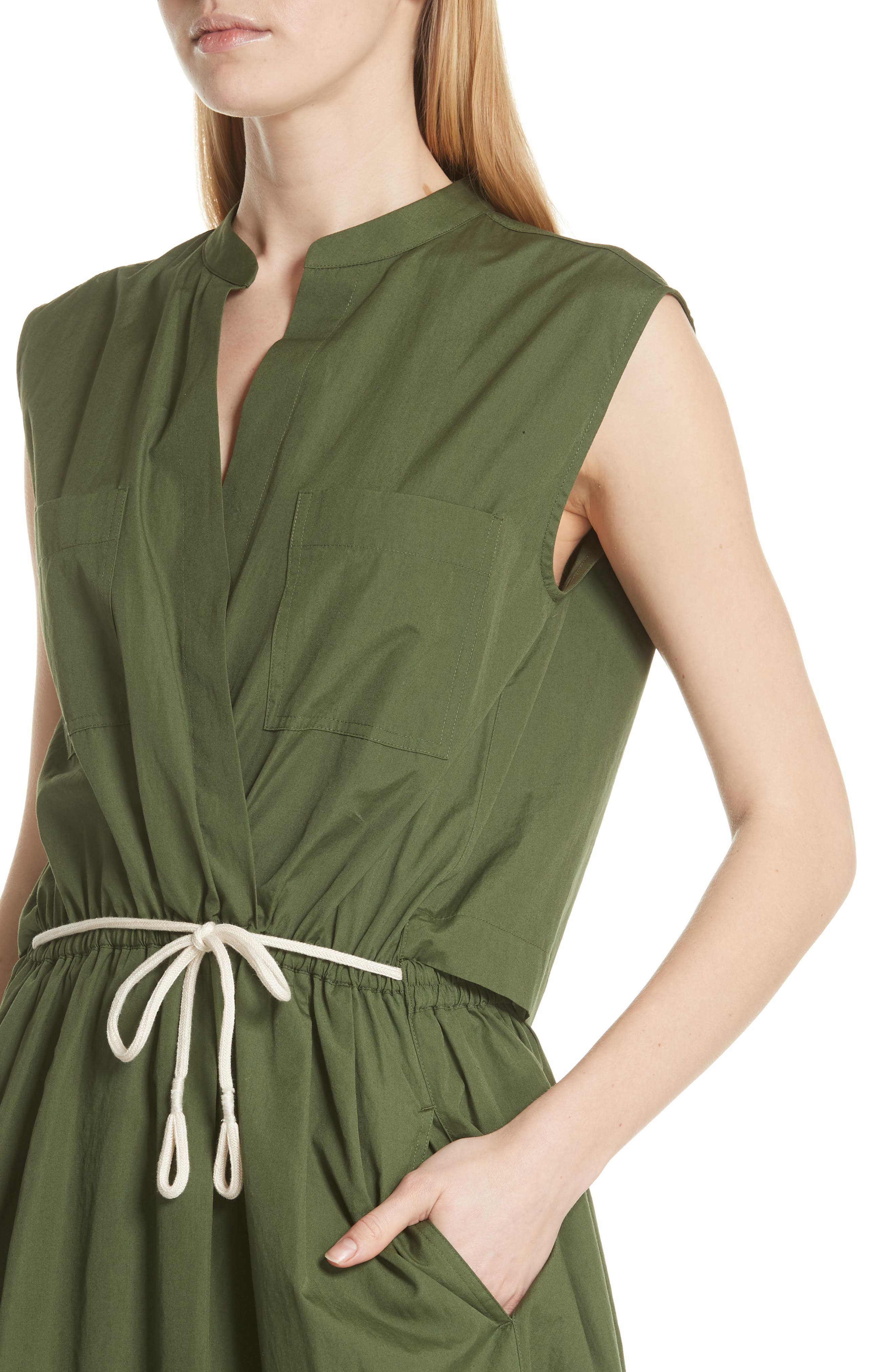 Back Cutout Cotton Utility Dress,                             Alternate thumbnail 4, color,                             Cedar