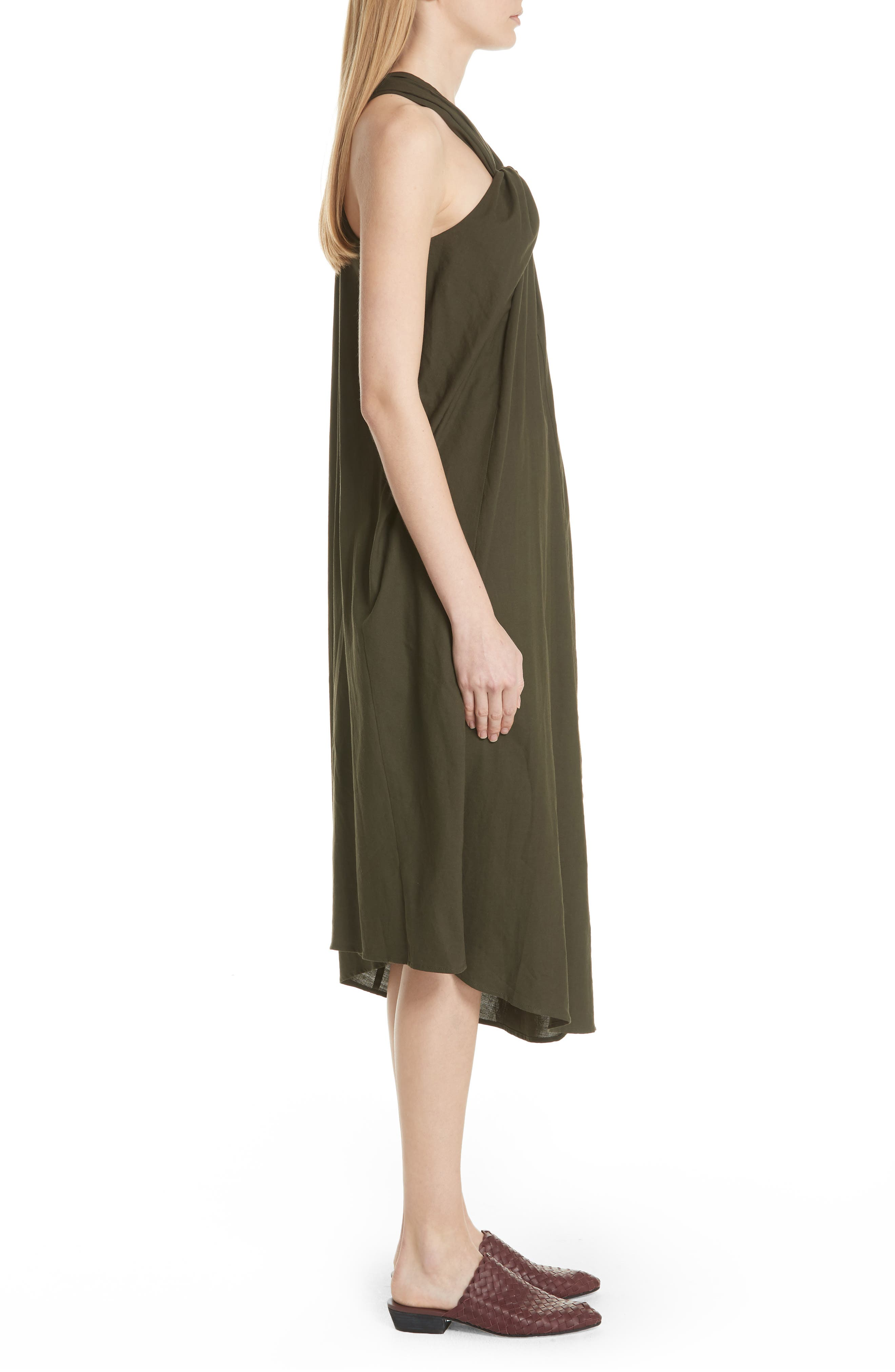 Twist Front Dress,                             Alternate thumbnail 3, color,                             Pinon Green