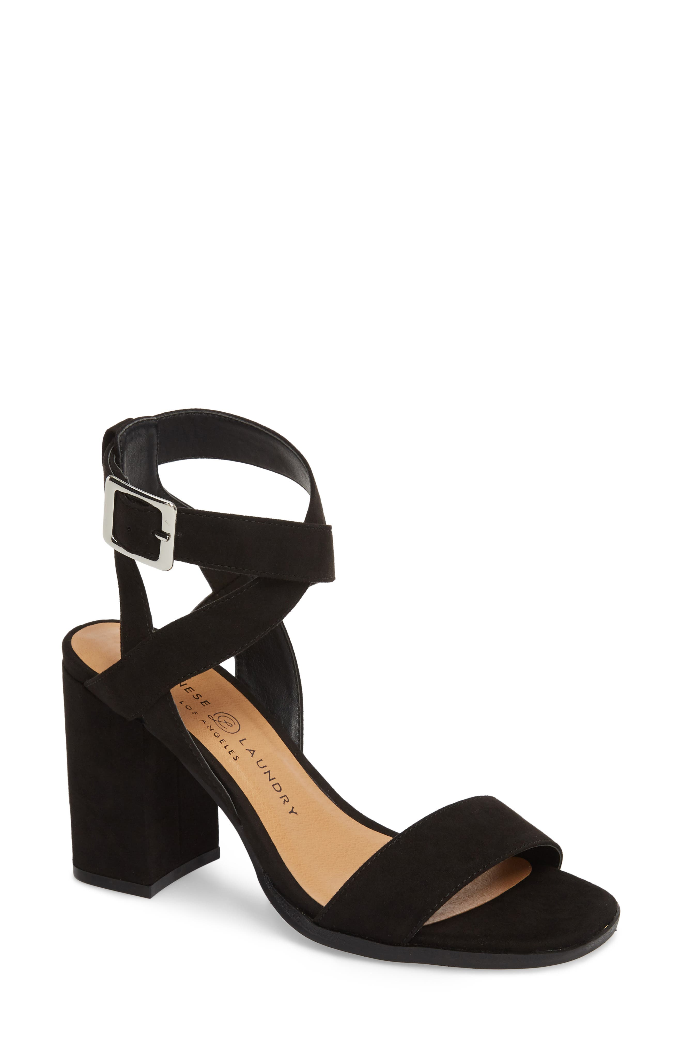 Stassi Block Heel Sandal,                         Main,                         color, Black