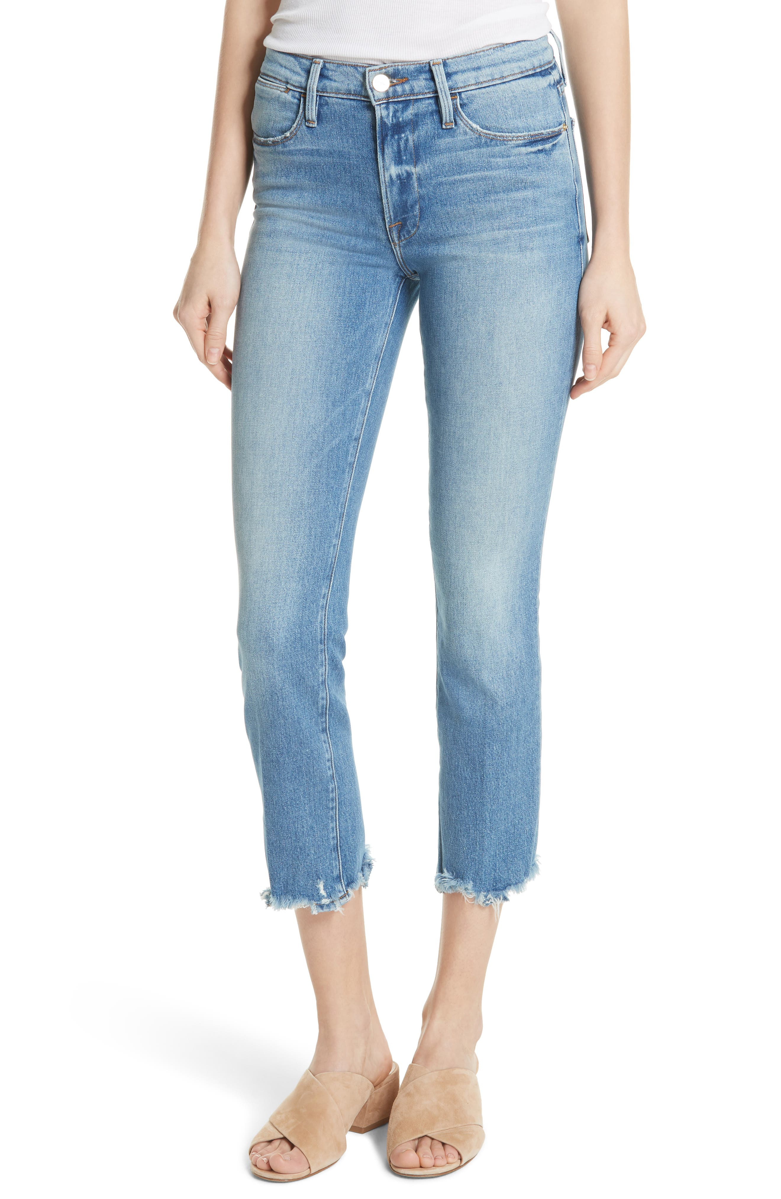 Le High Straight Leg Jeans,                         Main,                         color, Breakwater