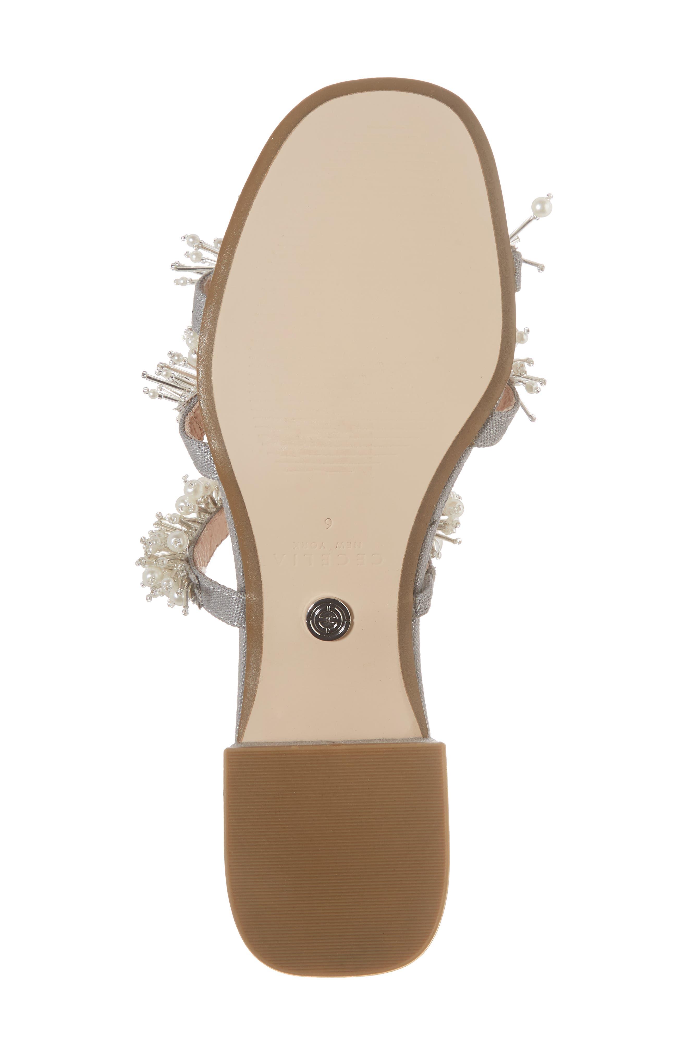Fes Embellished Slide Sandal,                             Alternate thumbnail 6, color,                             Grey Fabric