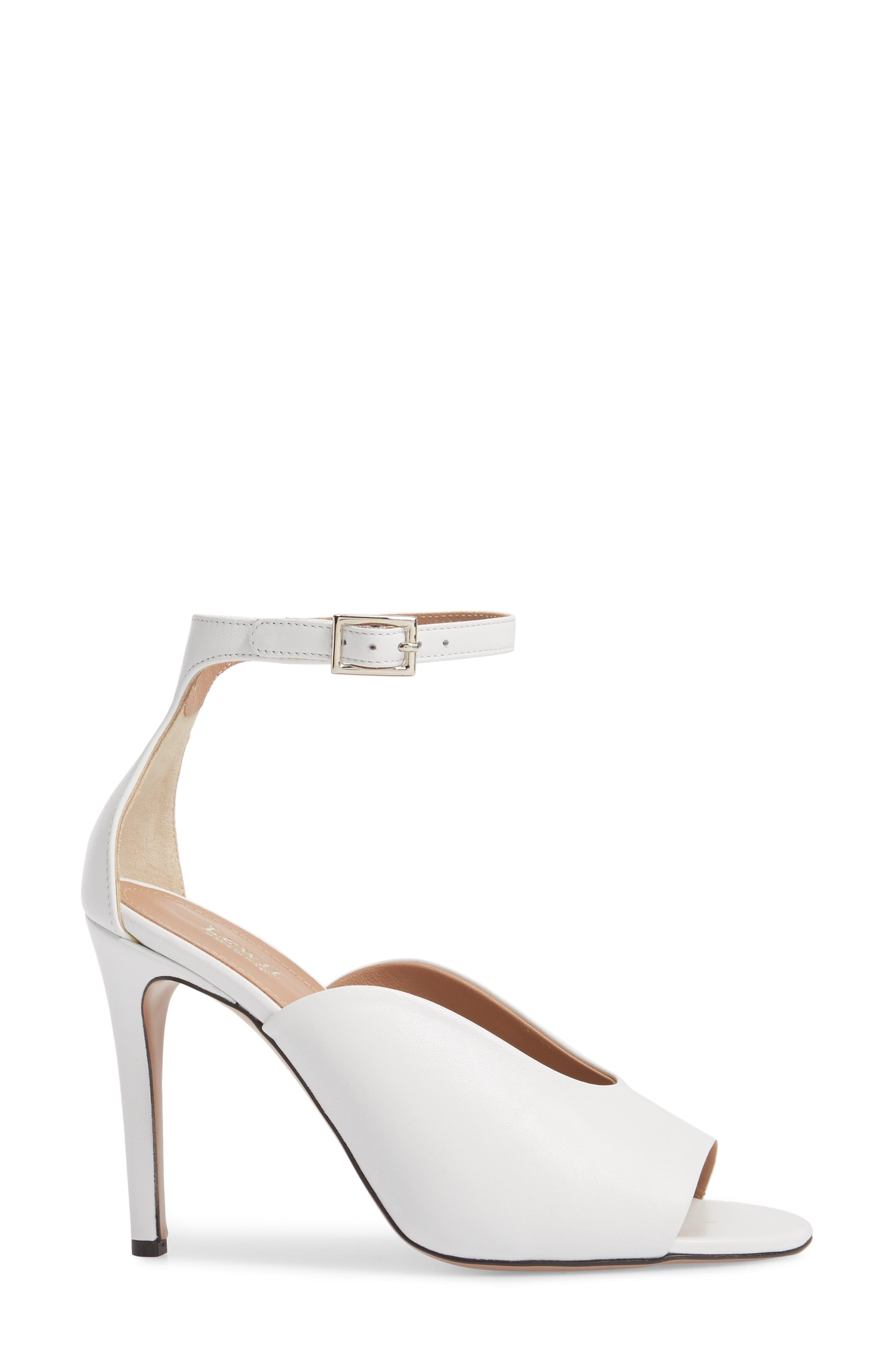 Rosalia Halo Strap Sandal,                             Alternate thumbnail 3, color,                             White Leather