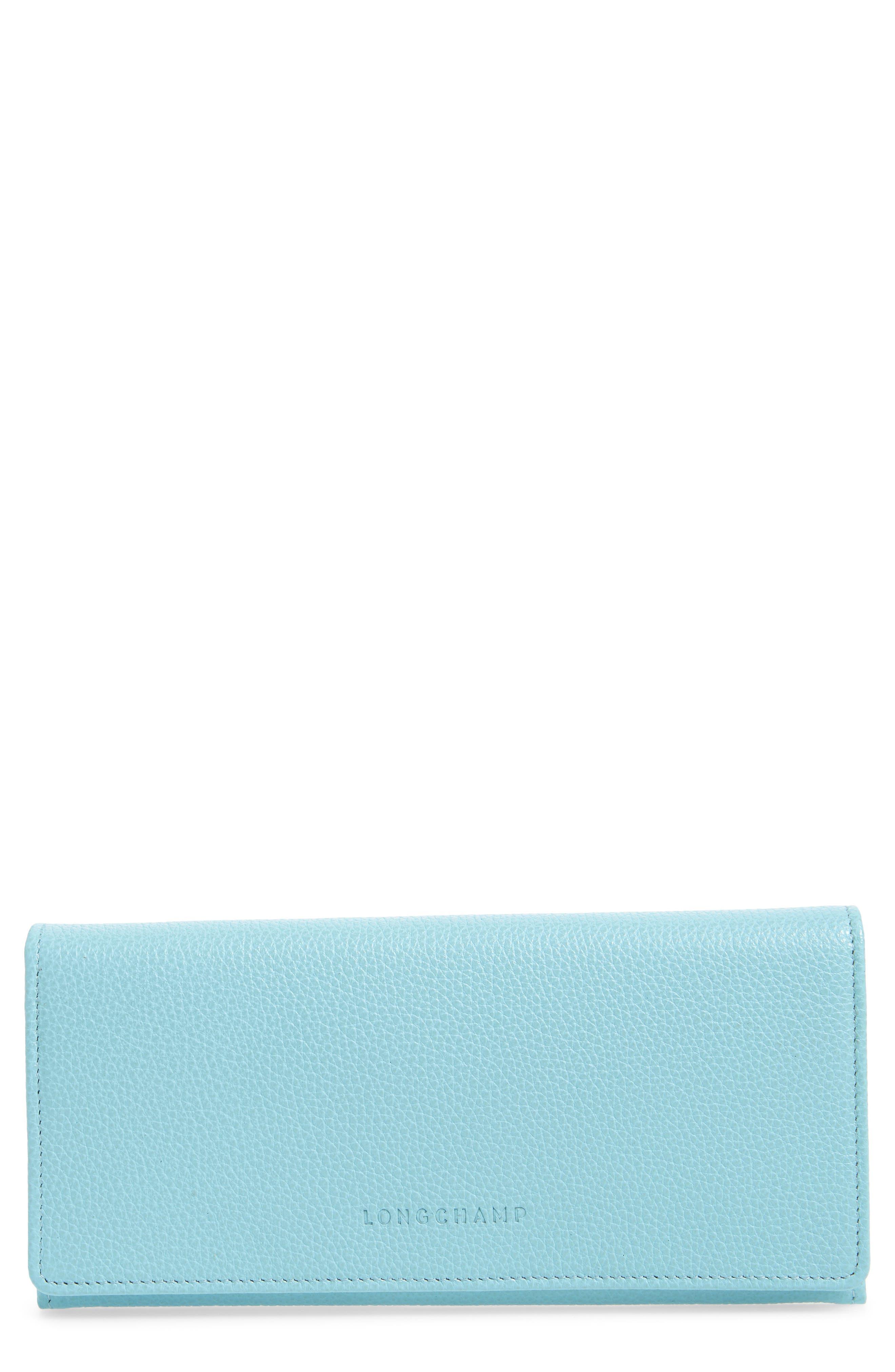 'Veau' Continental Wallet,                             Main thumbnail 1, color,                             Aqua