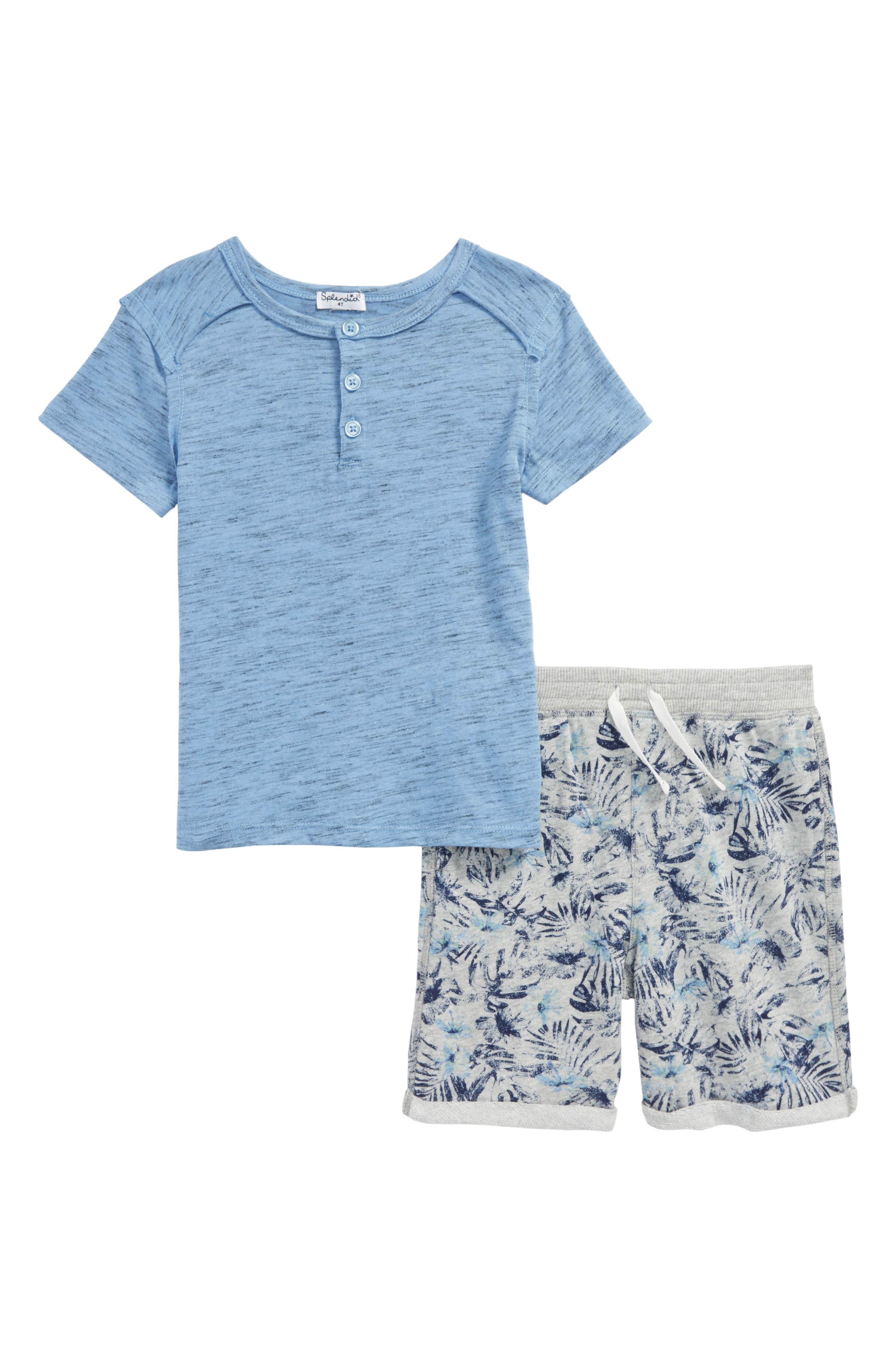 Henley T-Shirt & Shorts Set,                             Main thumbnail 1, color,                             By Water