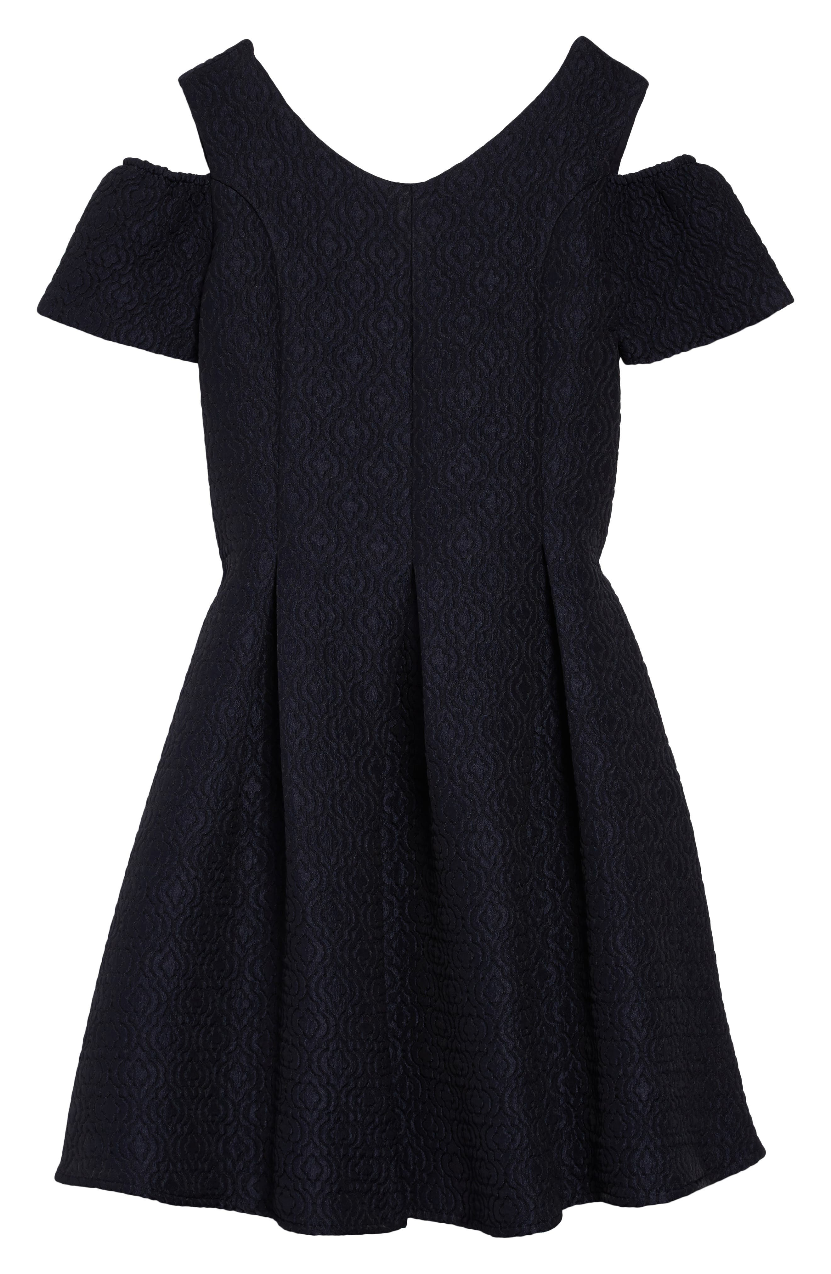 Cold Shoulder Fit & Flare Dress,                             Main thumbnail 1, color,                             Navy