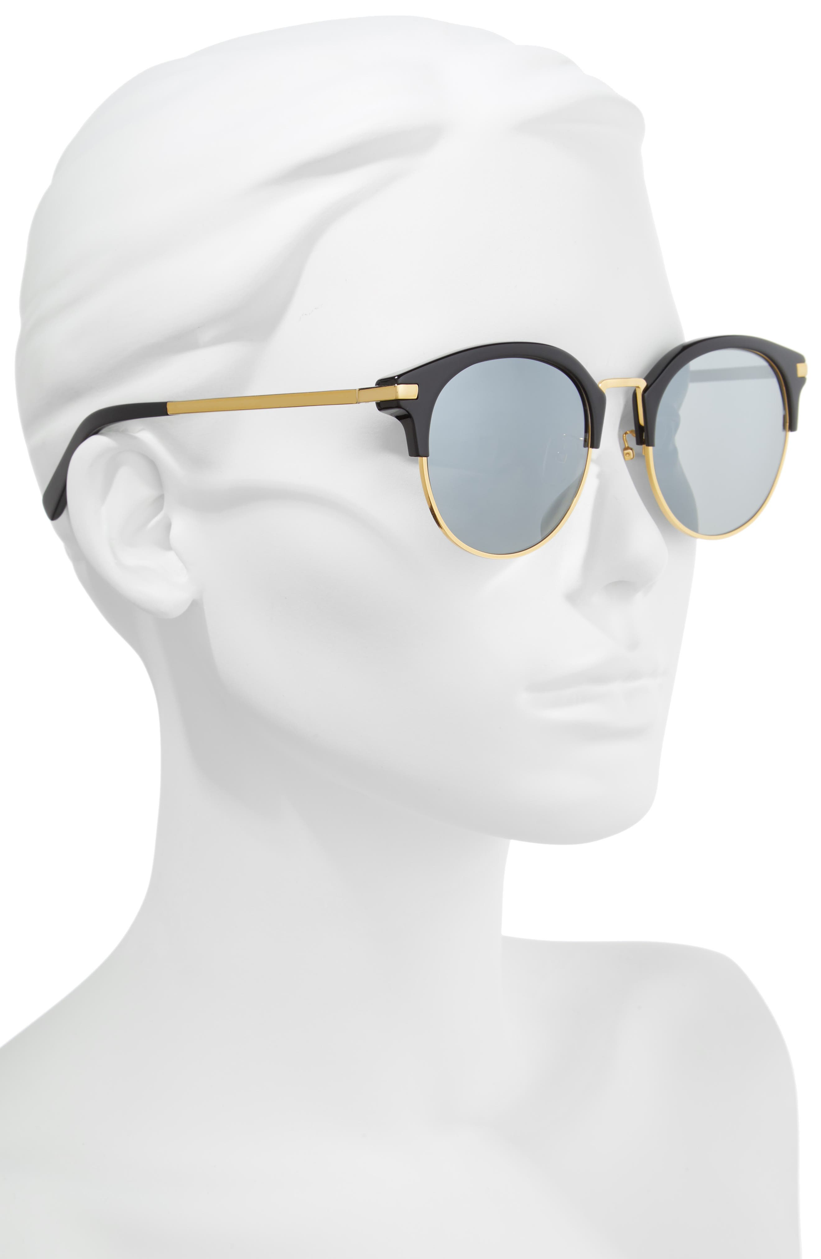56mm Round Sunglasses,                             Alternate thumbnail 2, color,                             Gold And Black/Blue Mirror