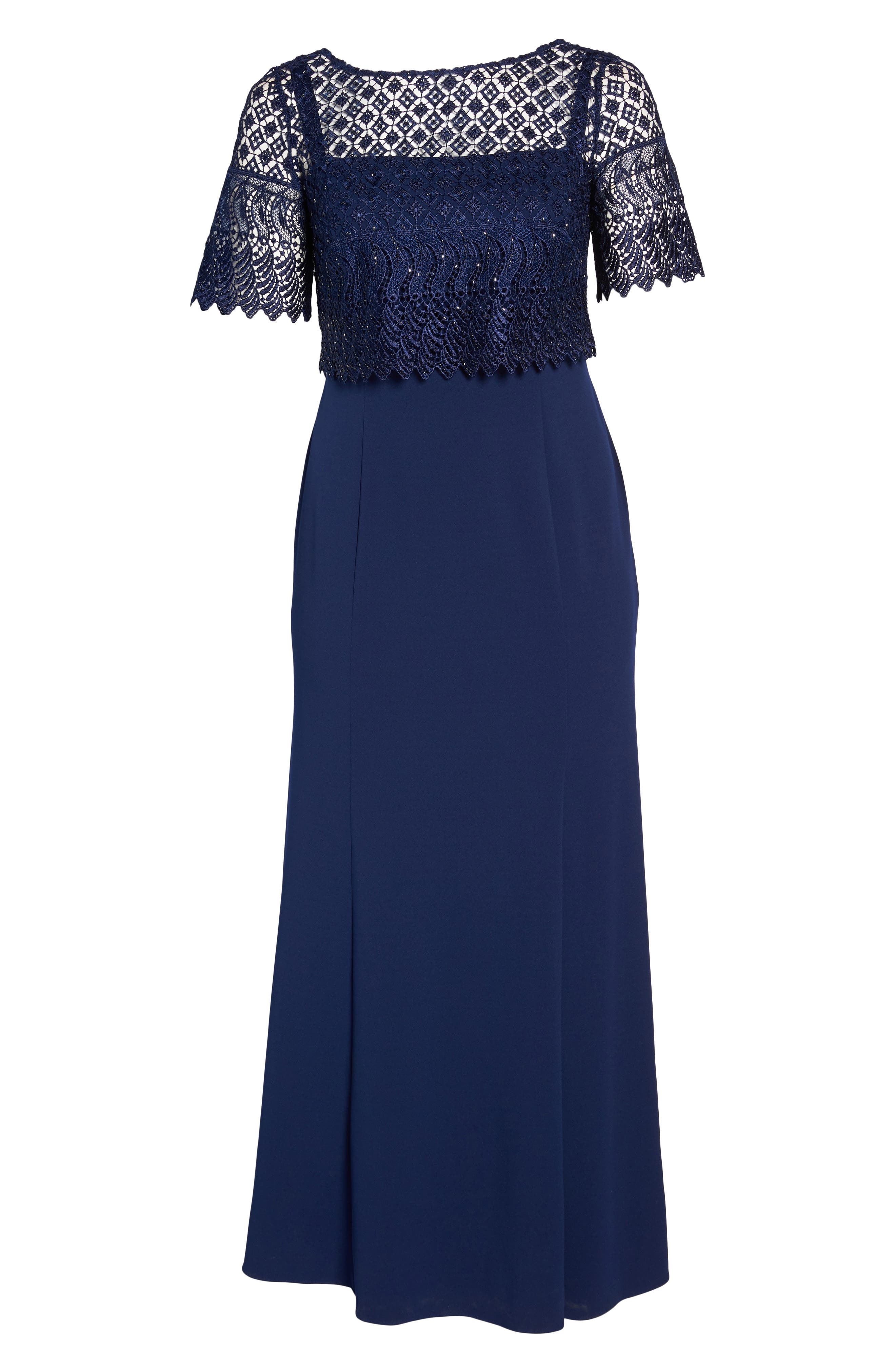 Guipure Popover Crepe Gown,                             Alternate thumbnail 6, color,                             Light Navy