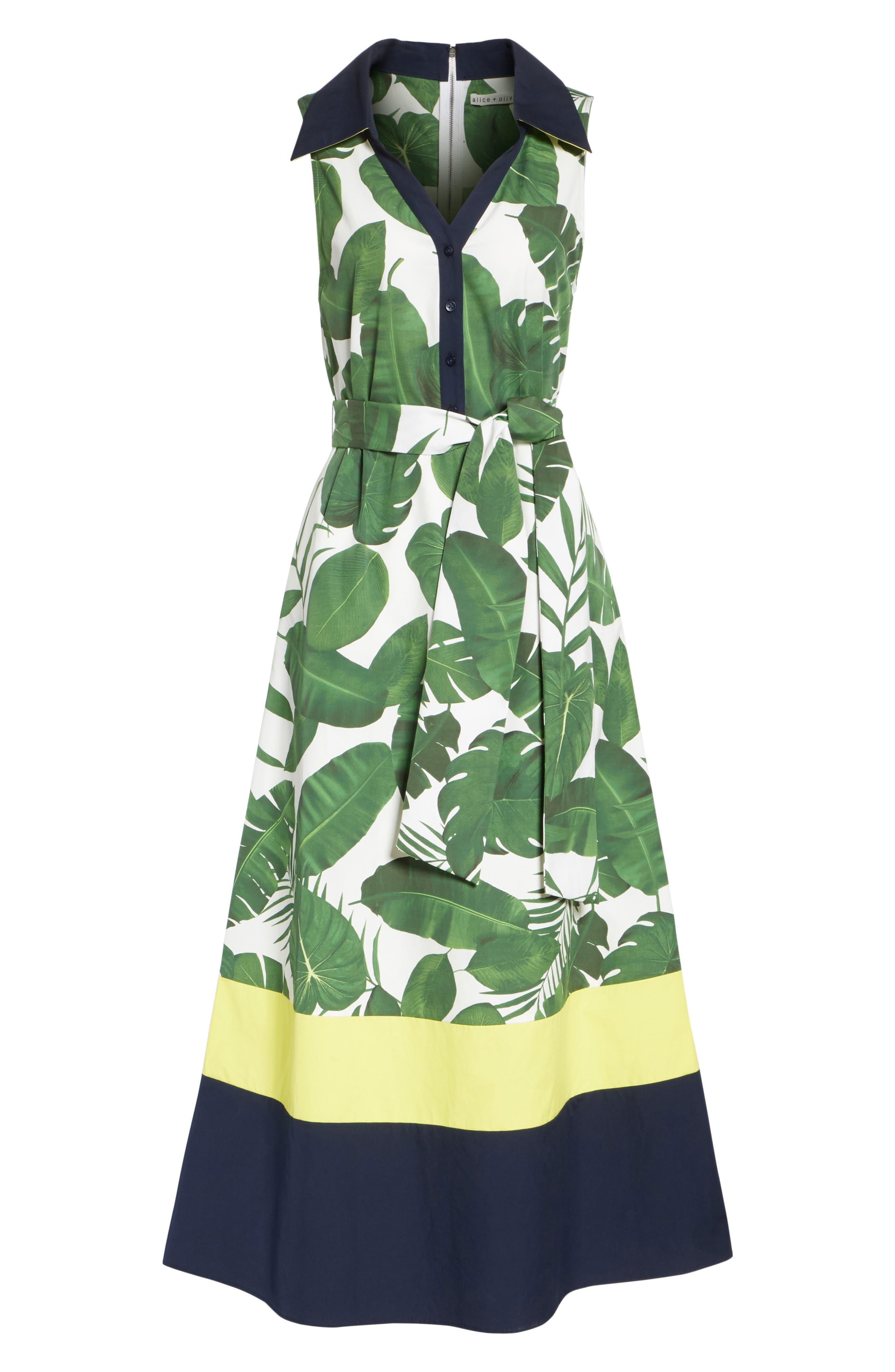 Margot Leaf Print Midi Dress,                             Alternate thumbnail 6, color,                             Tropical Leaves
