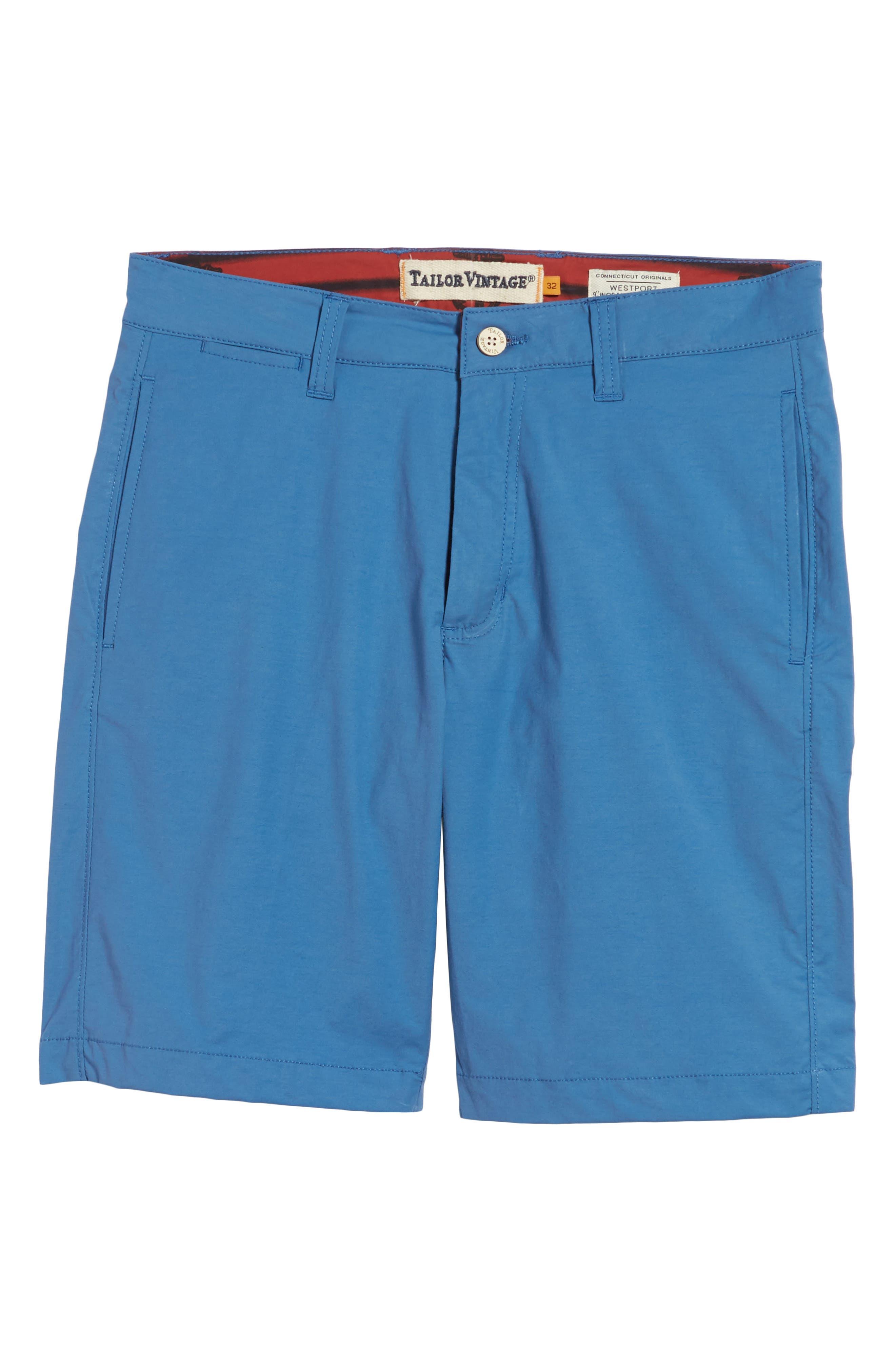 Stretch Cotton Blend Shorts,                             Alternate thumbnail 6, color,                             Delft