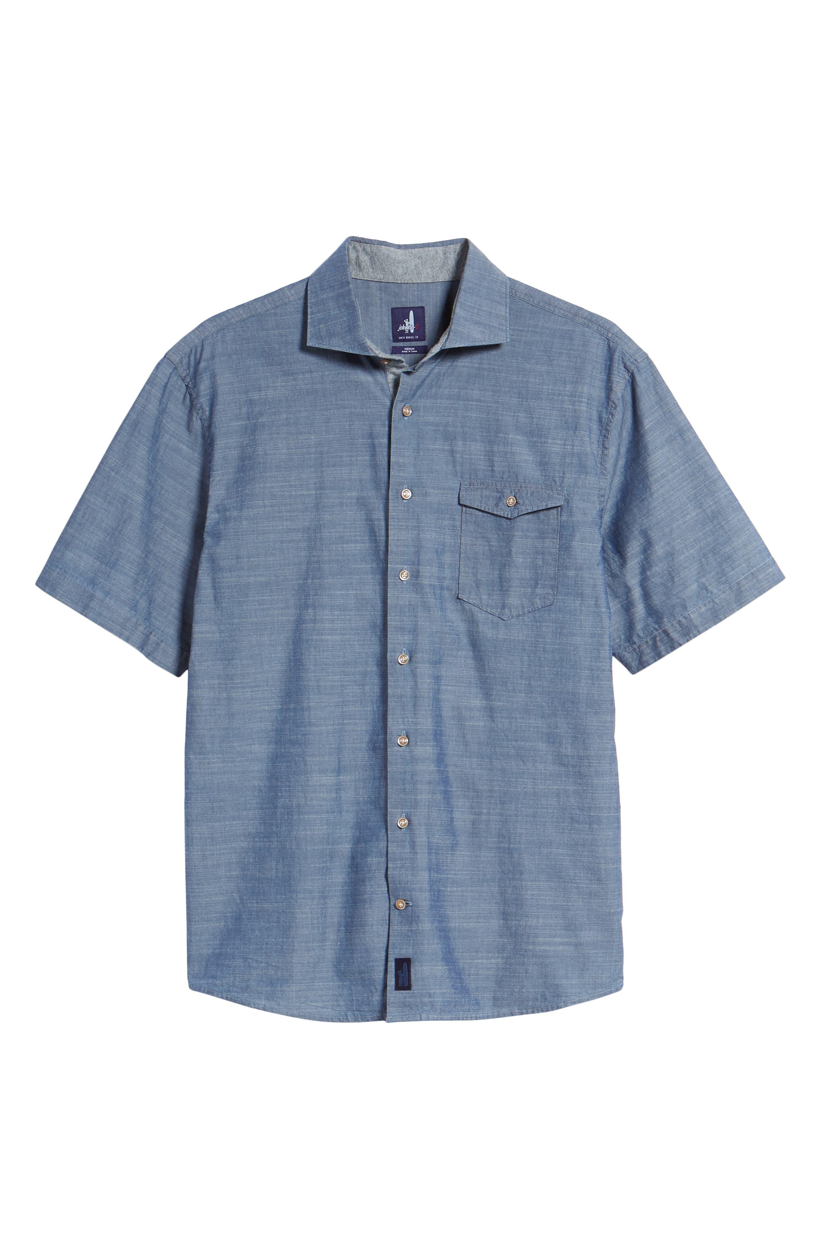 Lucas Regular Fit Chambray Sport Shirt,                             Alternate thumbnail 6, color,                             Indigo