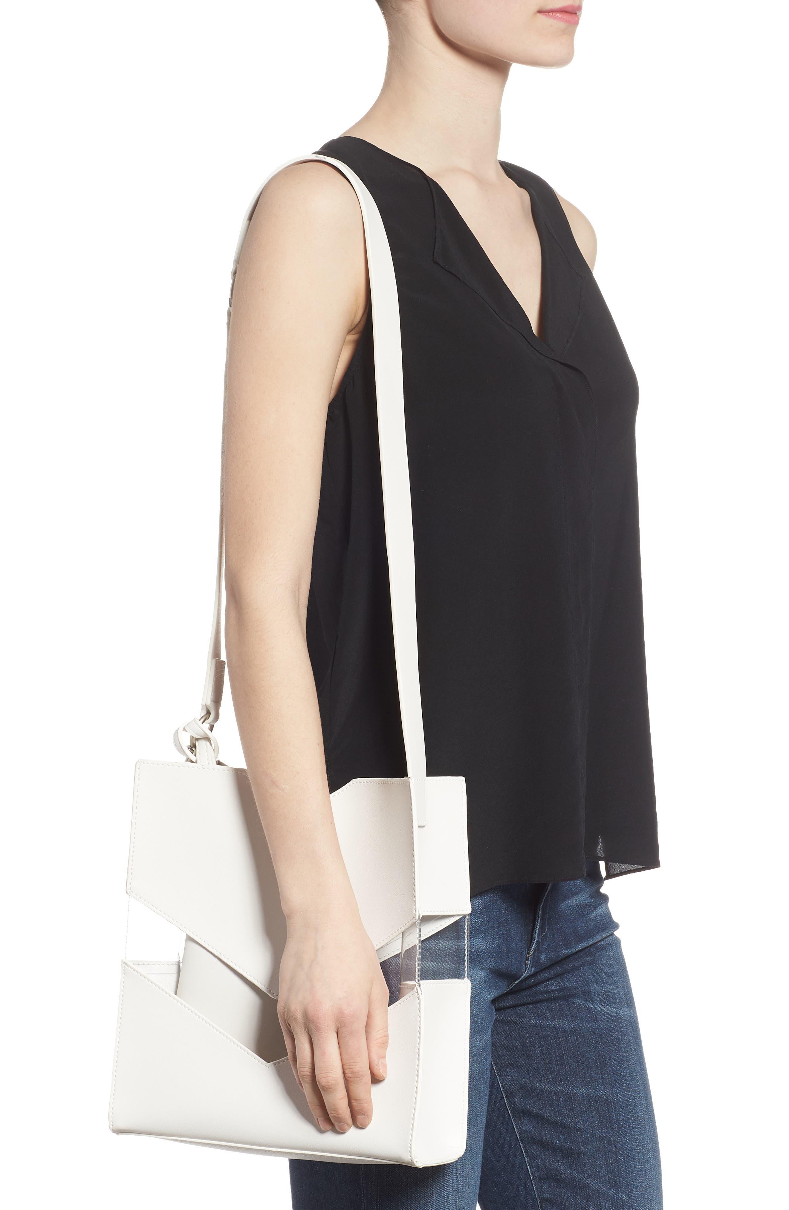 Emily Faux Leather Shoulder Bag,                             Alternate thumbnail 2, color,                             Stark White