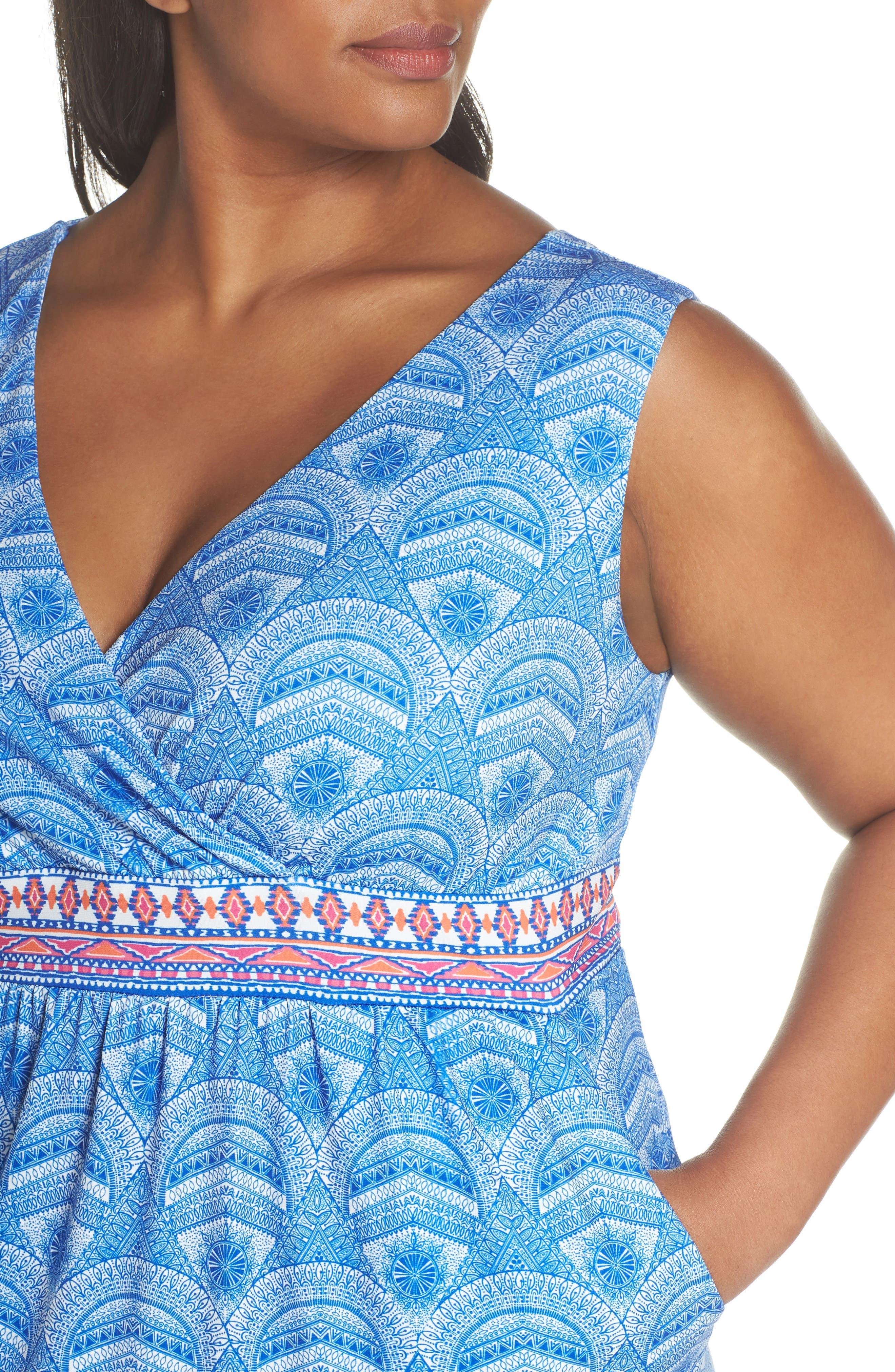 Rosine Print A-Line Dress,                             Alternate thumbnail 4, color,                             Lapis Blue