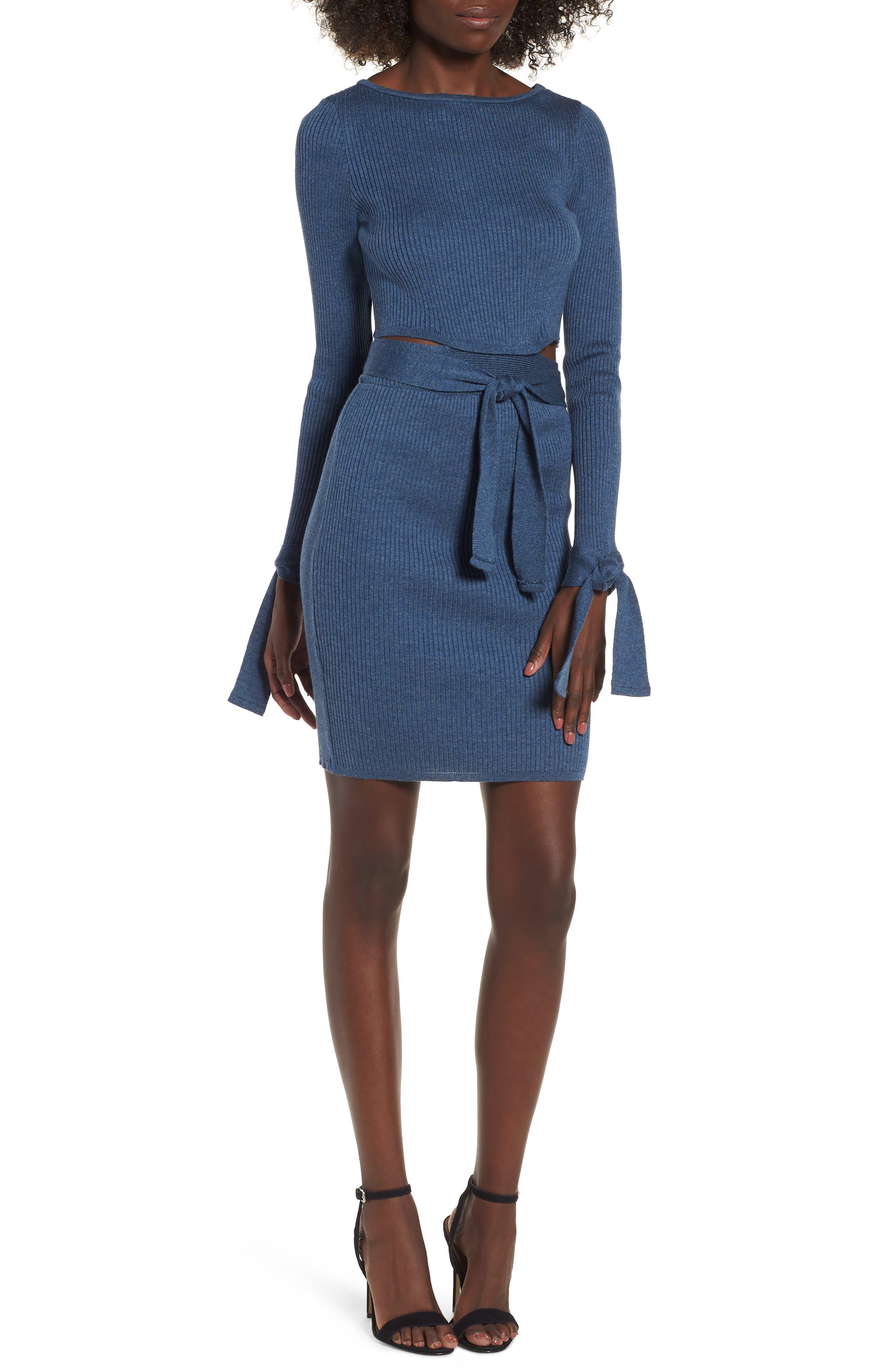 Cutout Body-Con Dress,                             Main thumbnail 1, color,                             Blue
