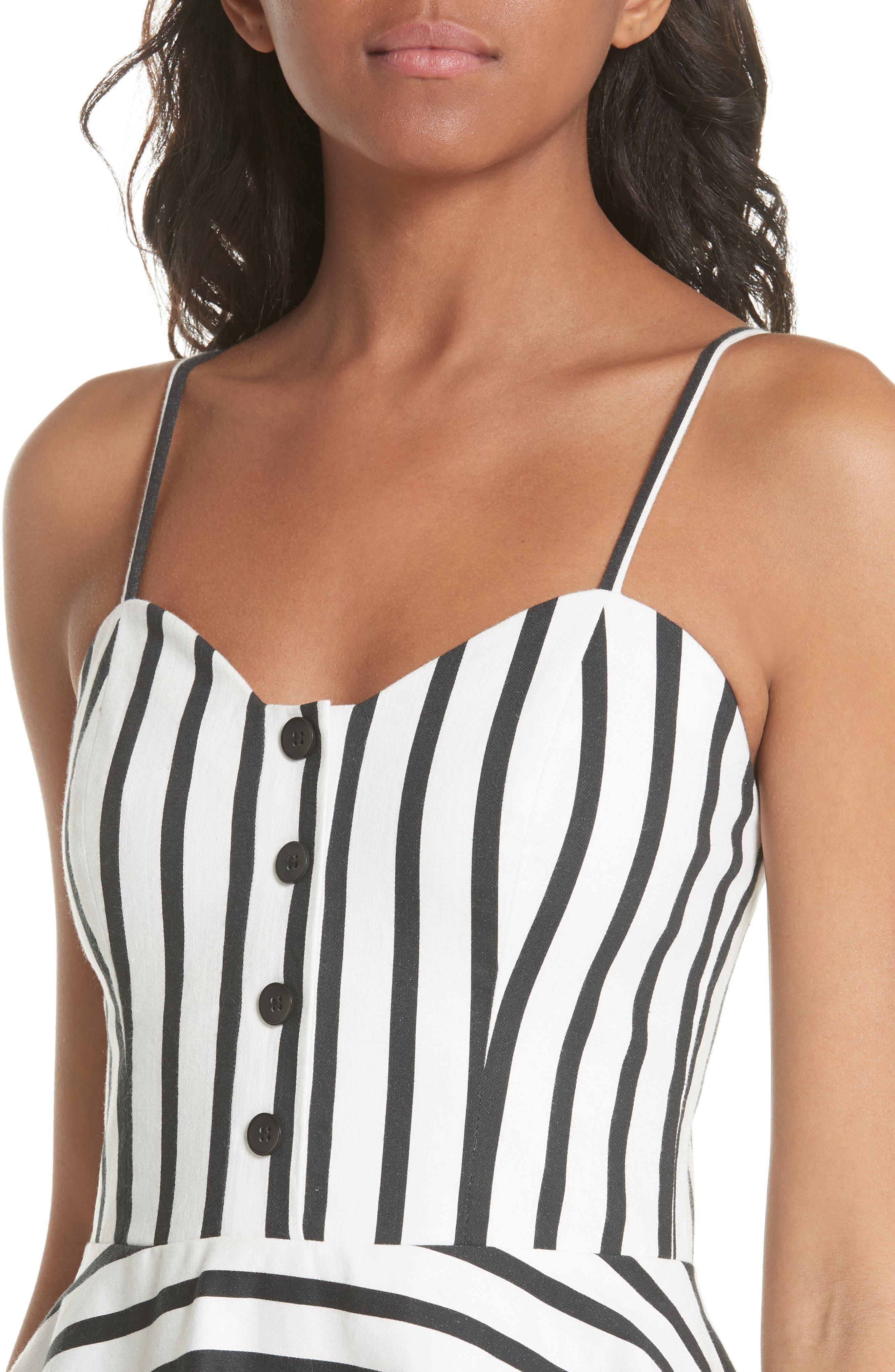 Nella Button Front Stripe Dress,                             Alternate thumbnail 4, color,                             Monochrome Stripe