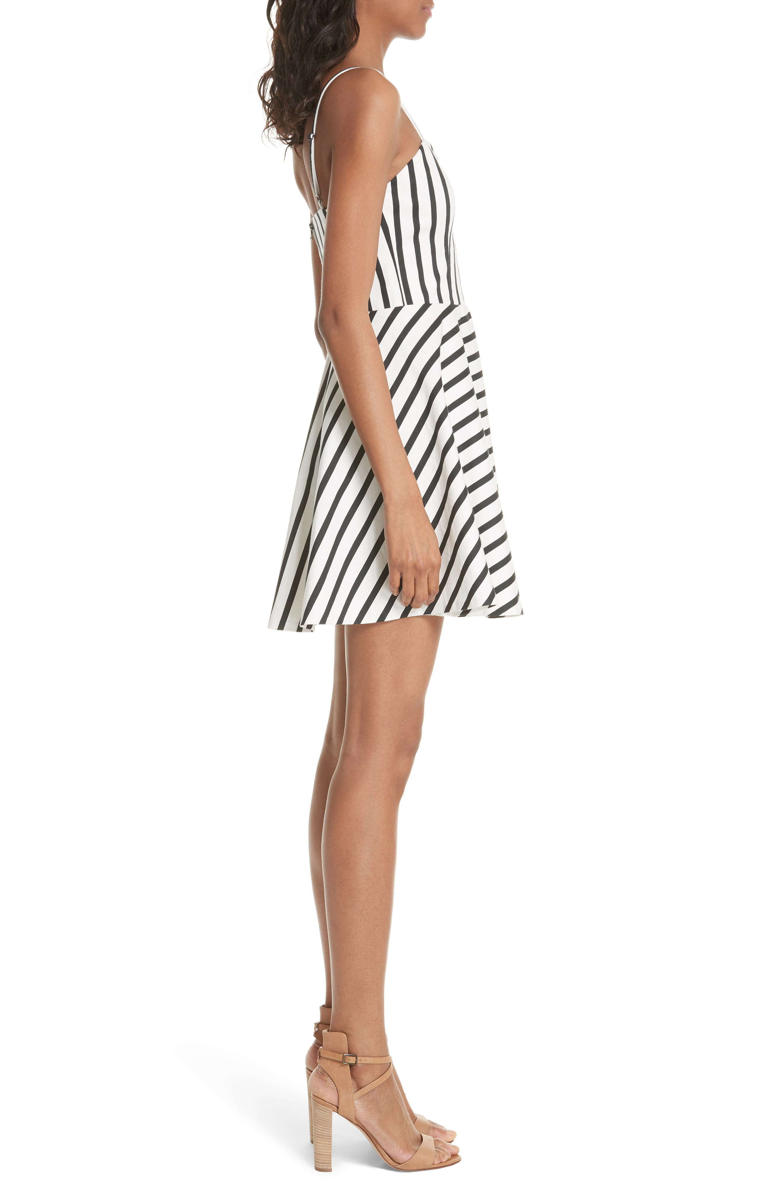 Nella Button Front Stripe Dress,                             Alternate thumbnail 3, color,                             Monochrome Stripe