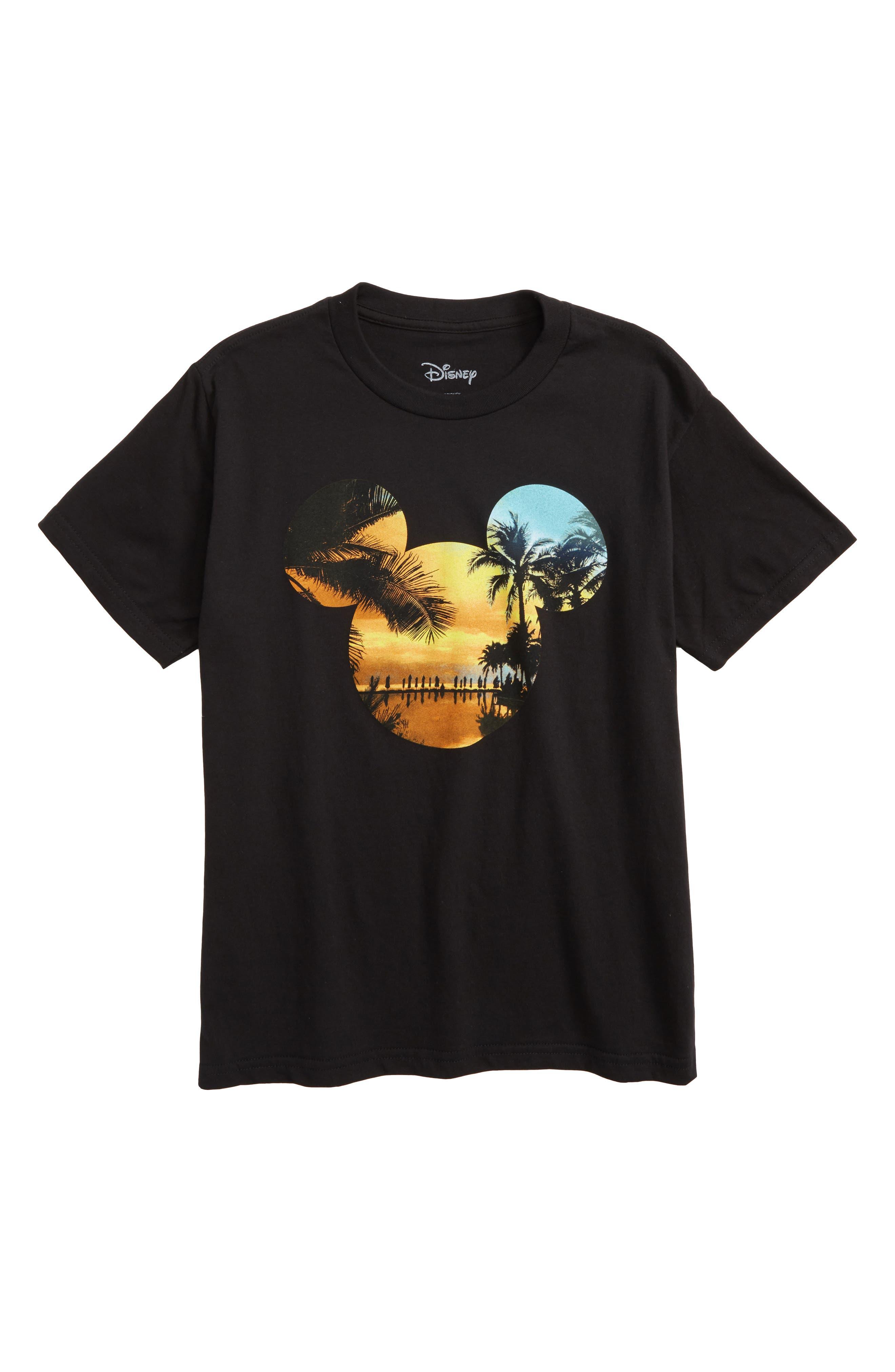 Disney Mickey Mouse Palm Graphic T-Shirt,                             Main thumbnail 1, color,                             Black