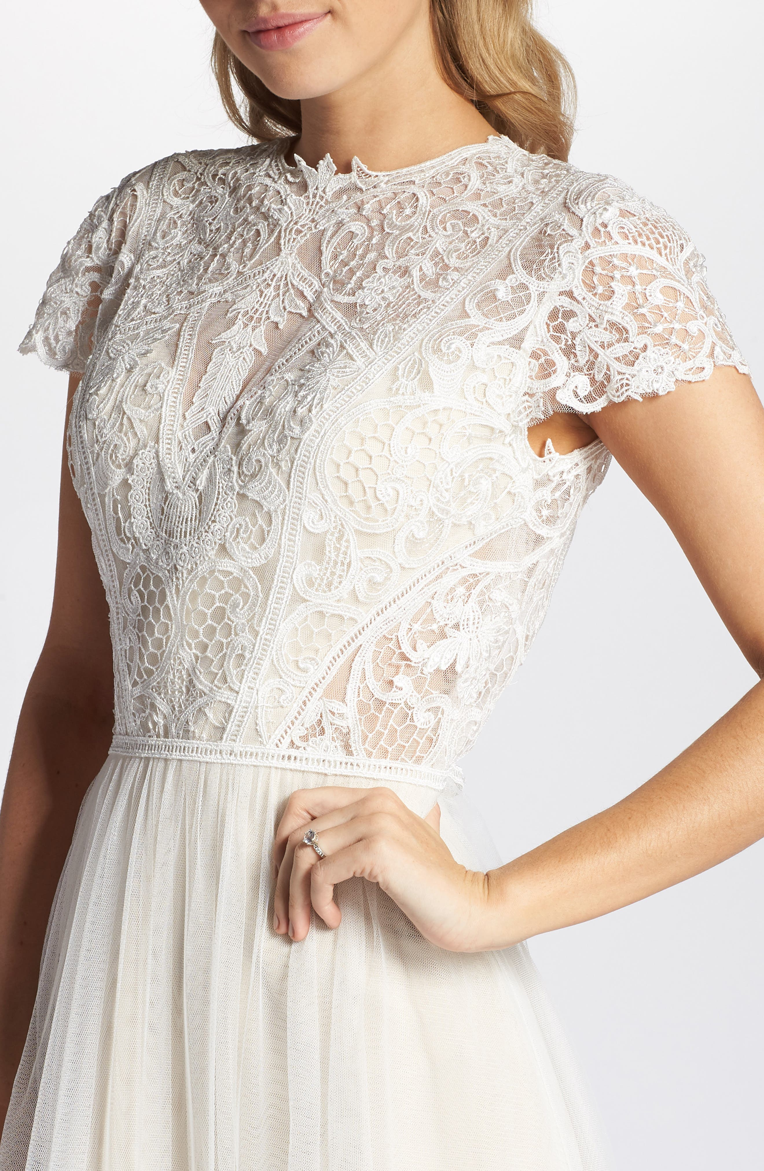 Lace & Tulle A-Line Gown,                             Alternate thumbnail 4, color,                             Ivory/Cashmere