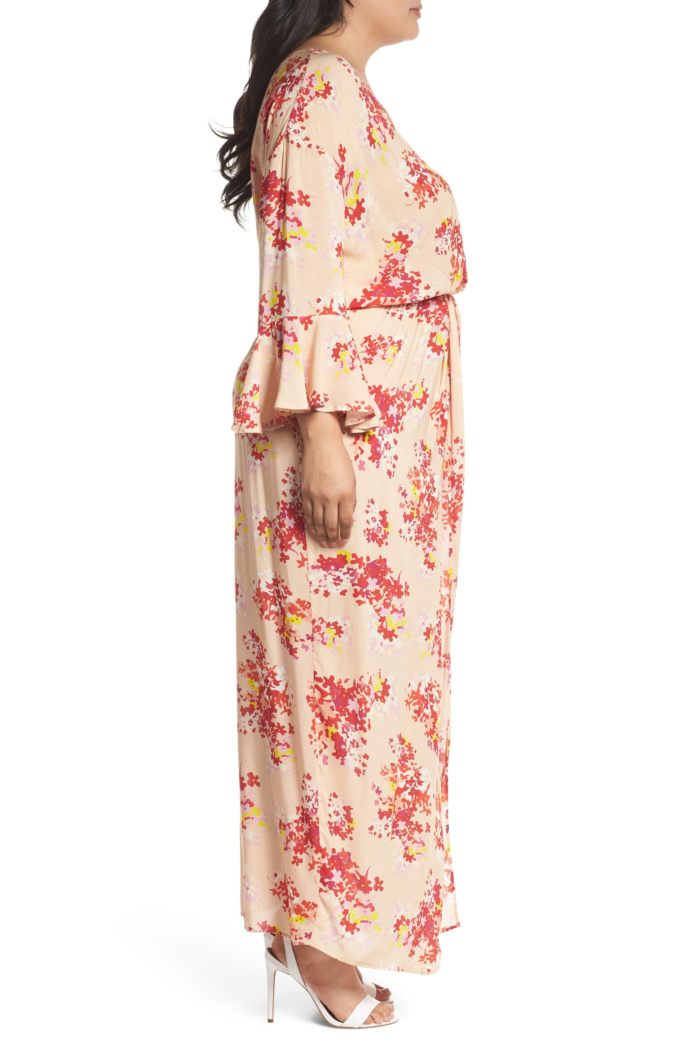 The Stasis Wrap Maxi Dress,                             Alternate thumbnail 3, color,                             Peach