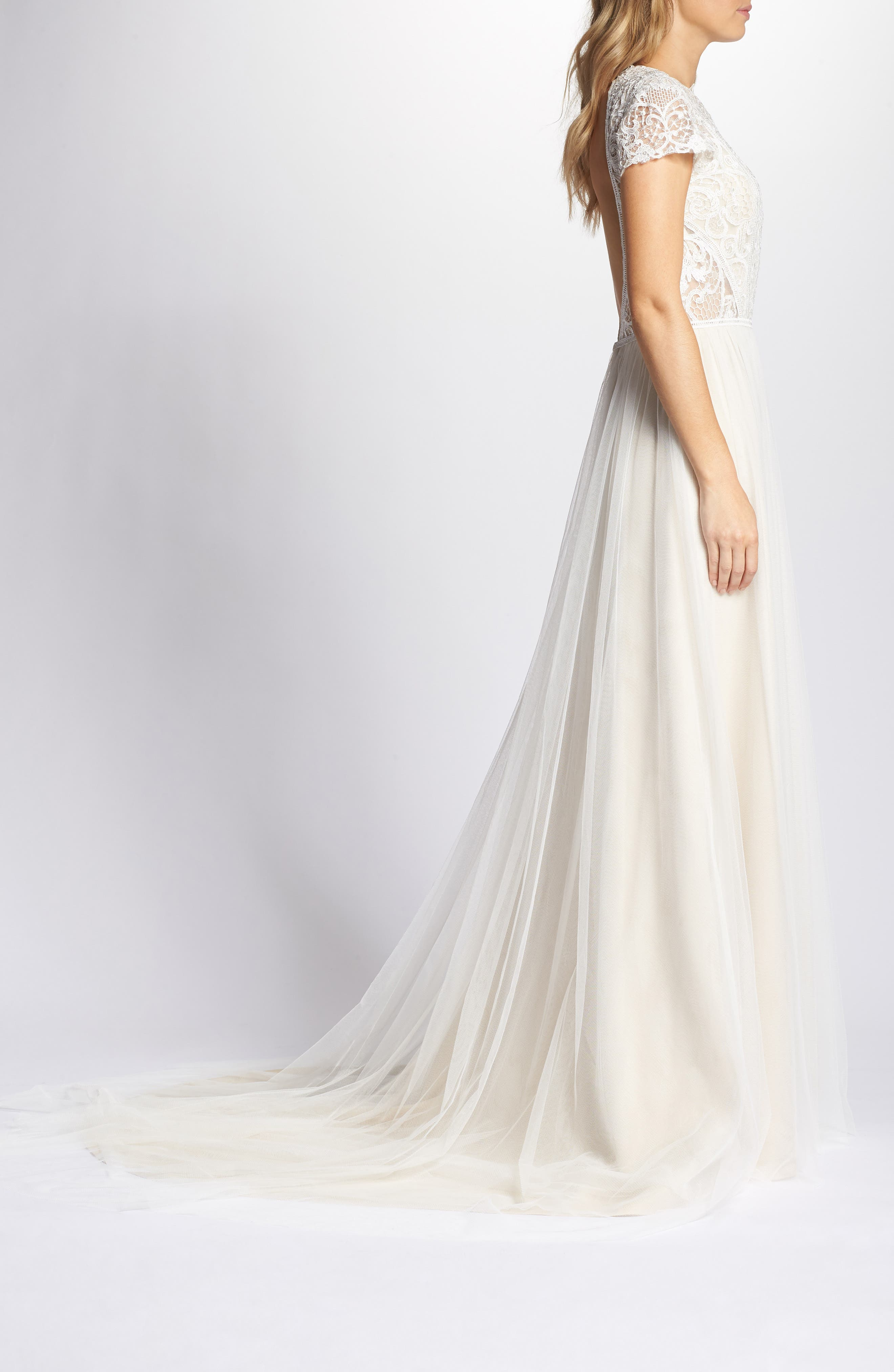 Lace & Tulle A-Line Gown,                             Alternate thumbnail 3, color,                             Ivory/Cashmere