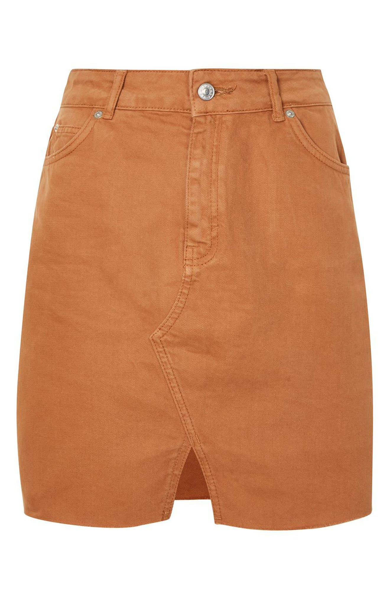 Mini Denim Skirt,                             Alternate thumbnail 4, color,                             Rust