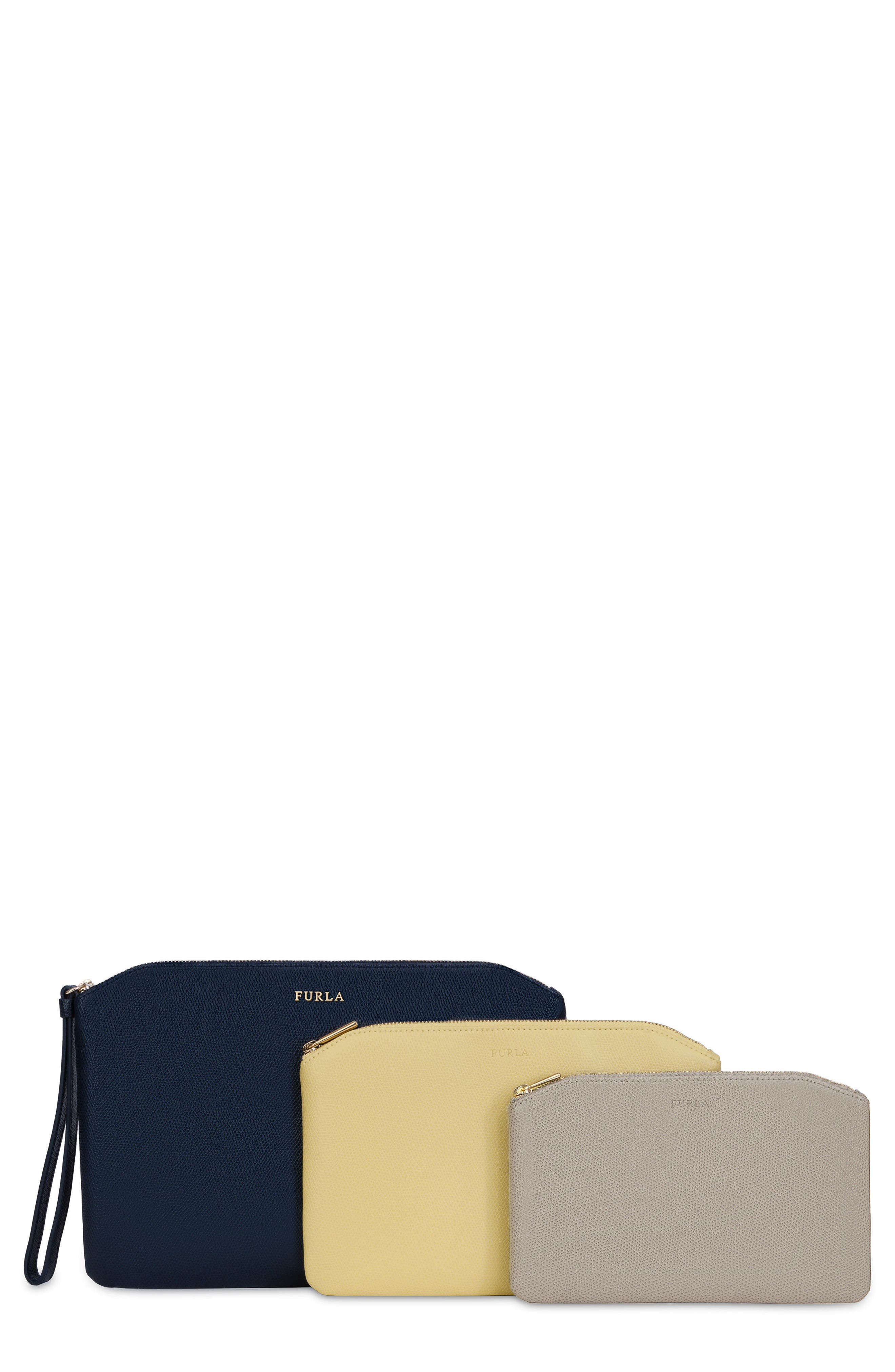 Venere Set of 3 Leather Cosmetic Bags,                         Main,                         color, Blu/ Cedro/ Sabbia