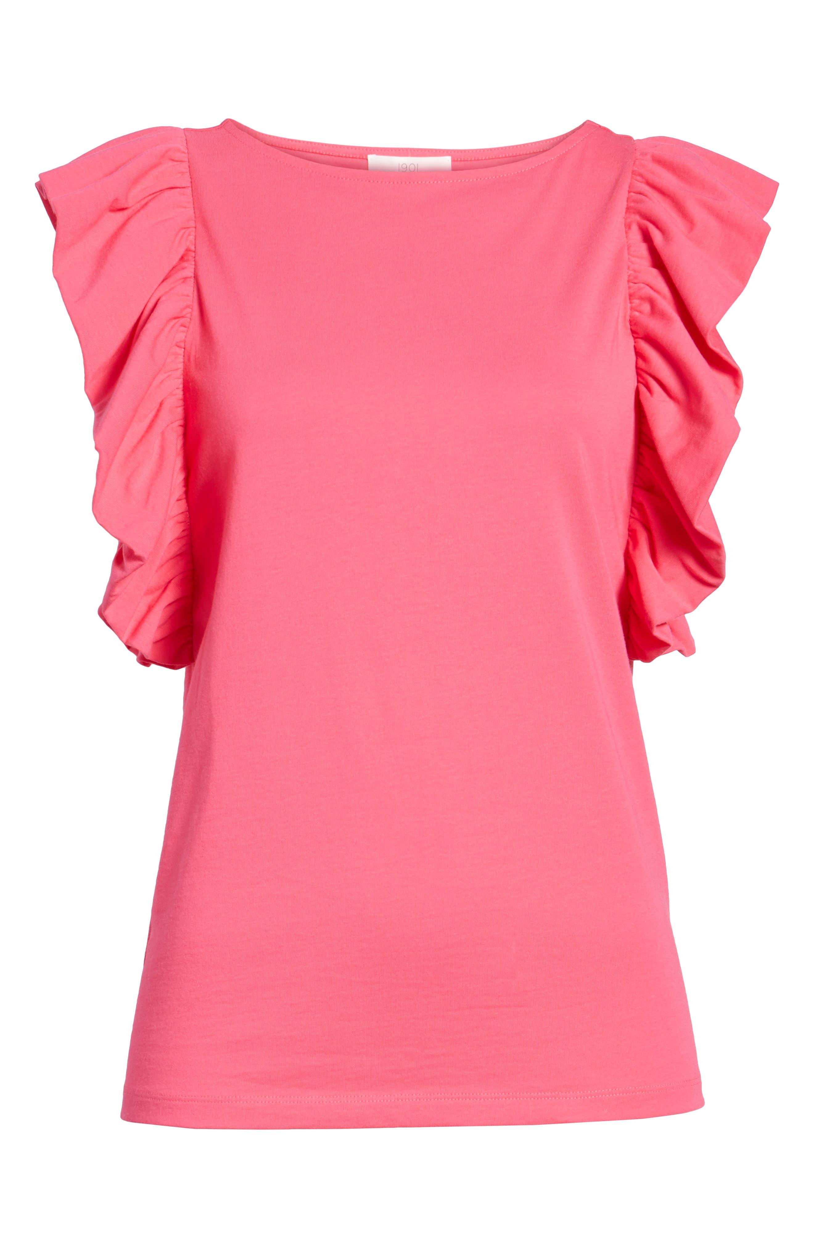 Ruffle Sleeve Tee,                             Alternate thumbnail 7, color,                             Pink Cabaret
