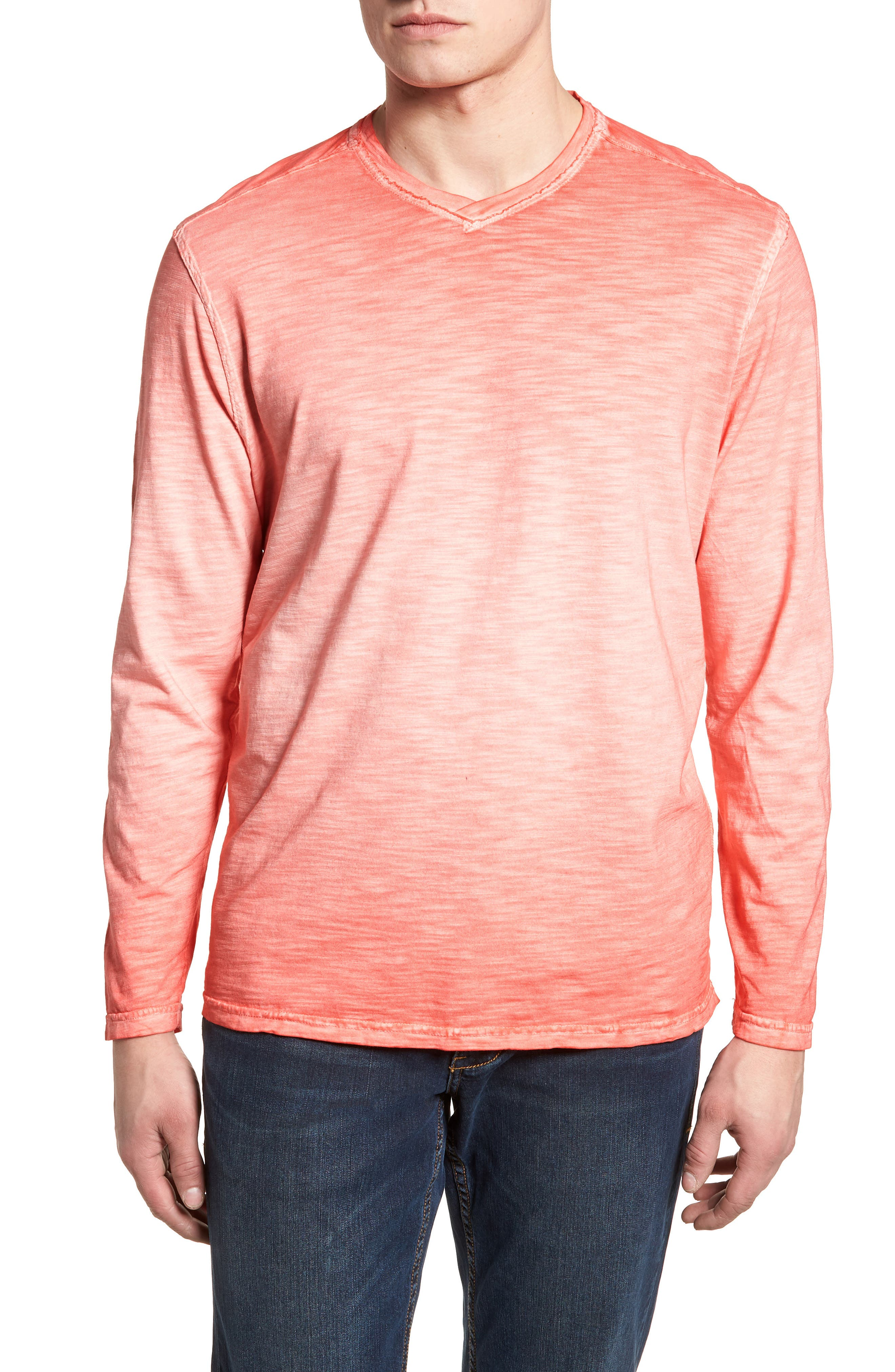 Suncoast Shores V-Neck Long Sleeve T-Shirt,                         Main,                         color, Bright Coral