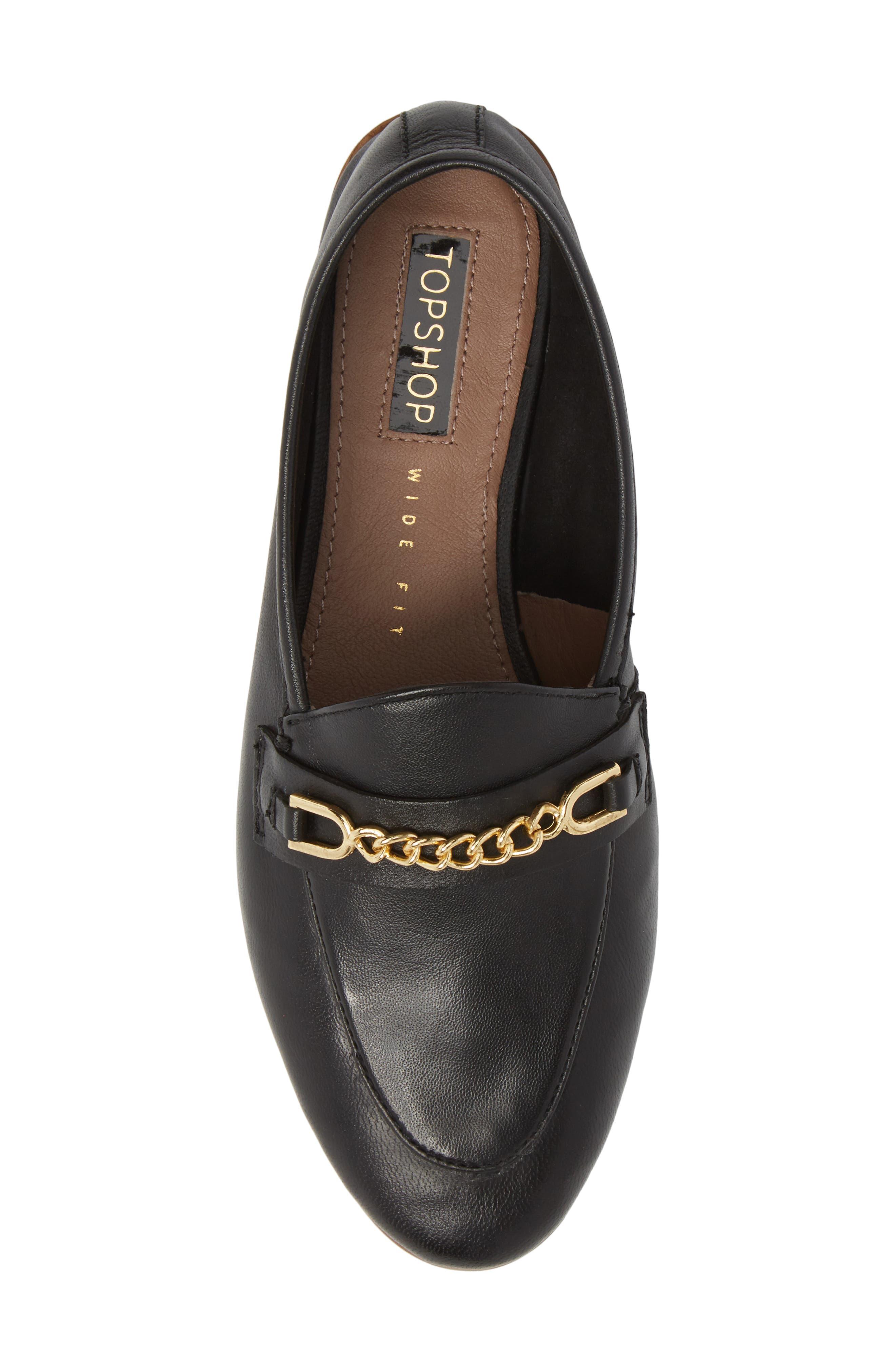 Chain Trim Apron Toe Loafer,                             Alternate thumbnail 5, color,                             Black