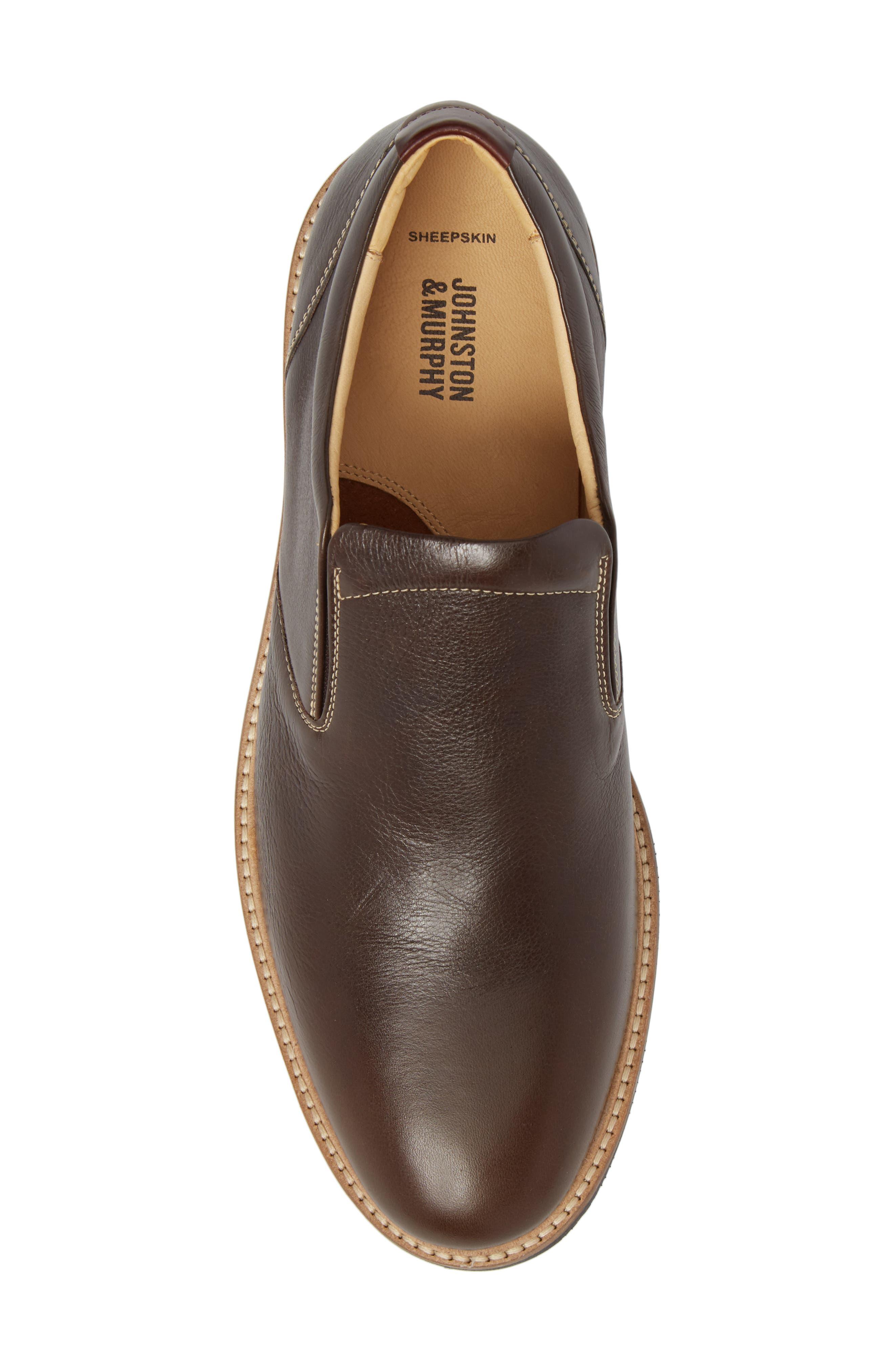 Barlow Plain Toe Slip-On,                             Alternate thumbnail 5, color,                             Dark Brown Leather