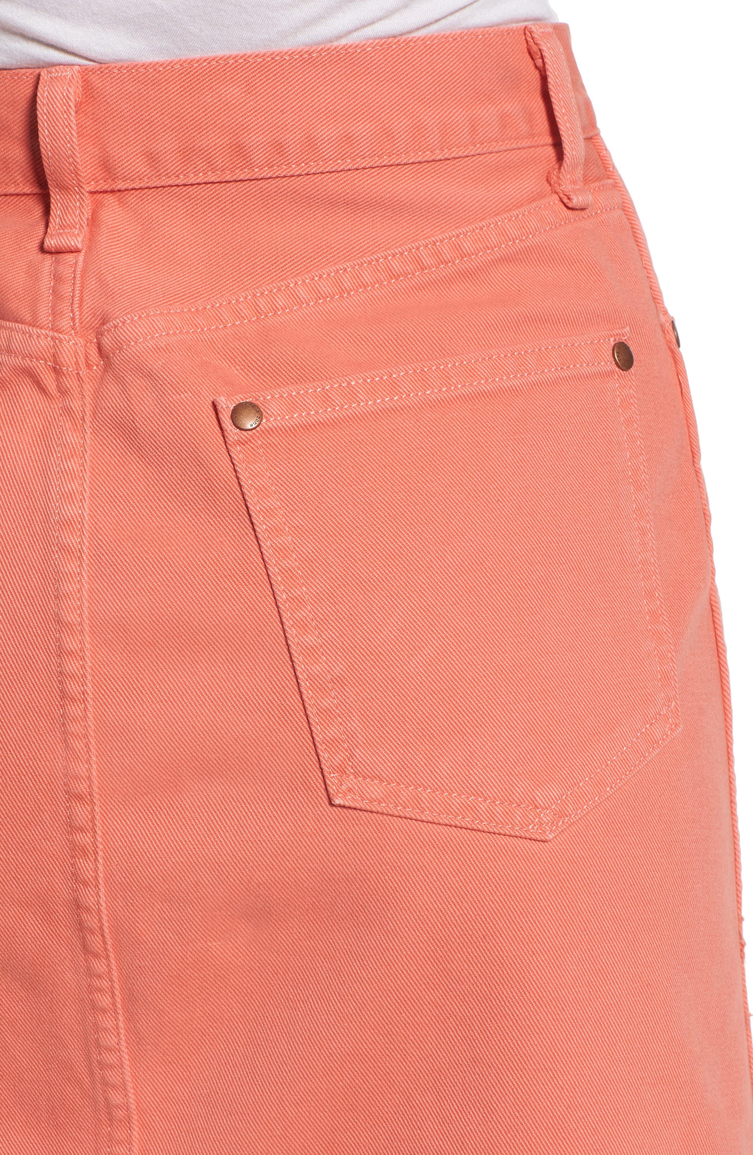 Moss High Waist Denim Miniskirt,                             Alternate thumbnail 4, color,                             Coral Haze