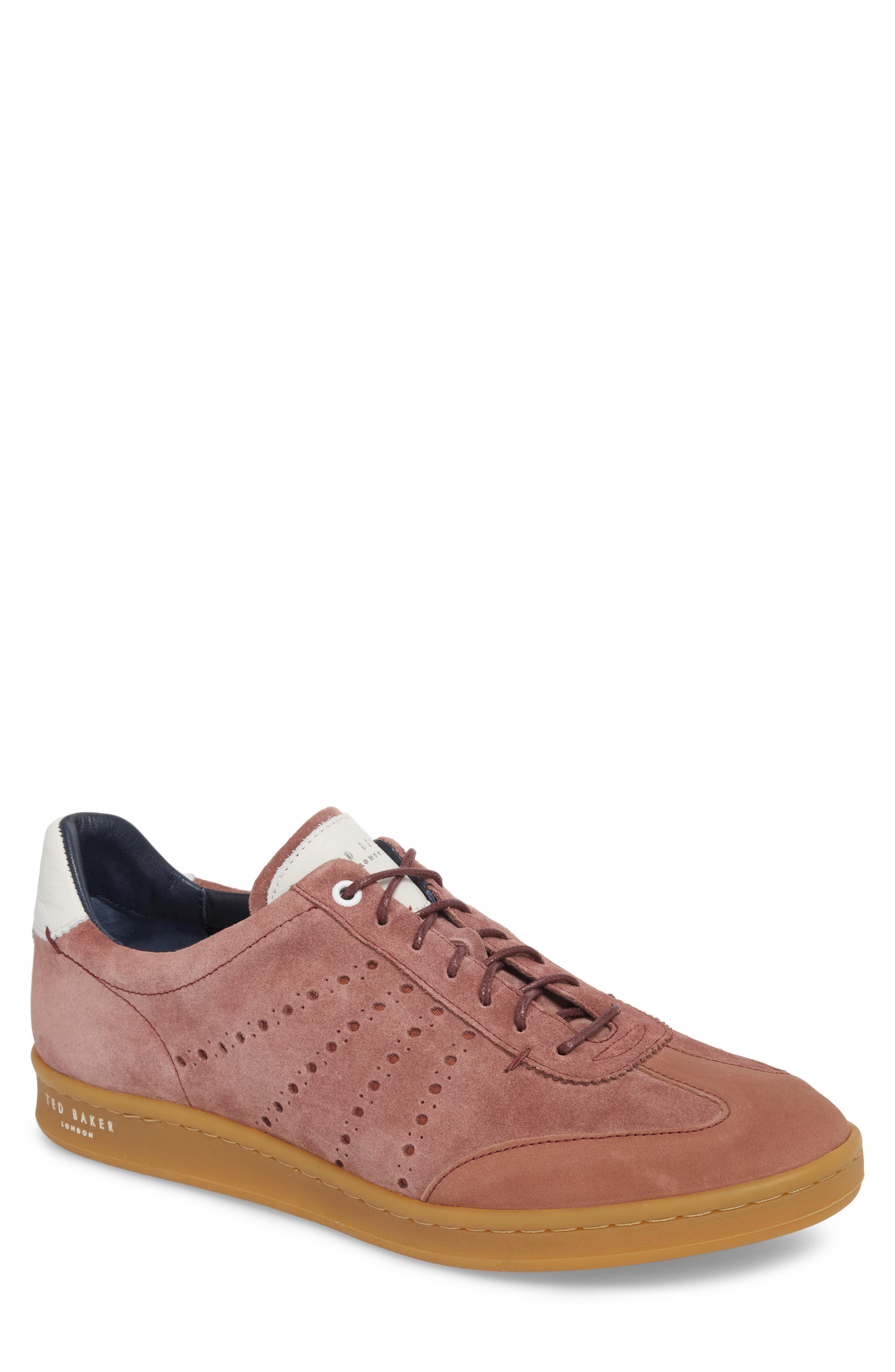 Orlees Low Top Sneaker,                         Main,                         color, Pink Leather/ Suede