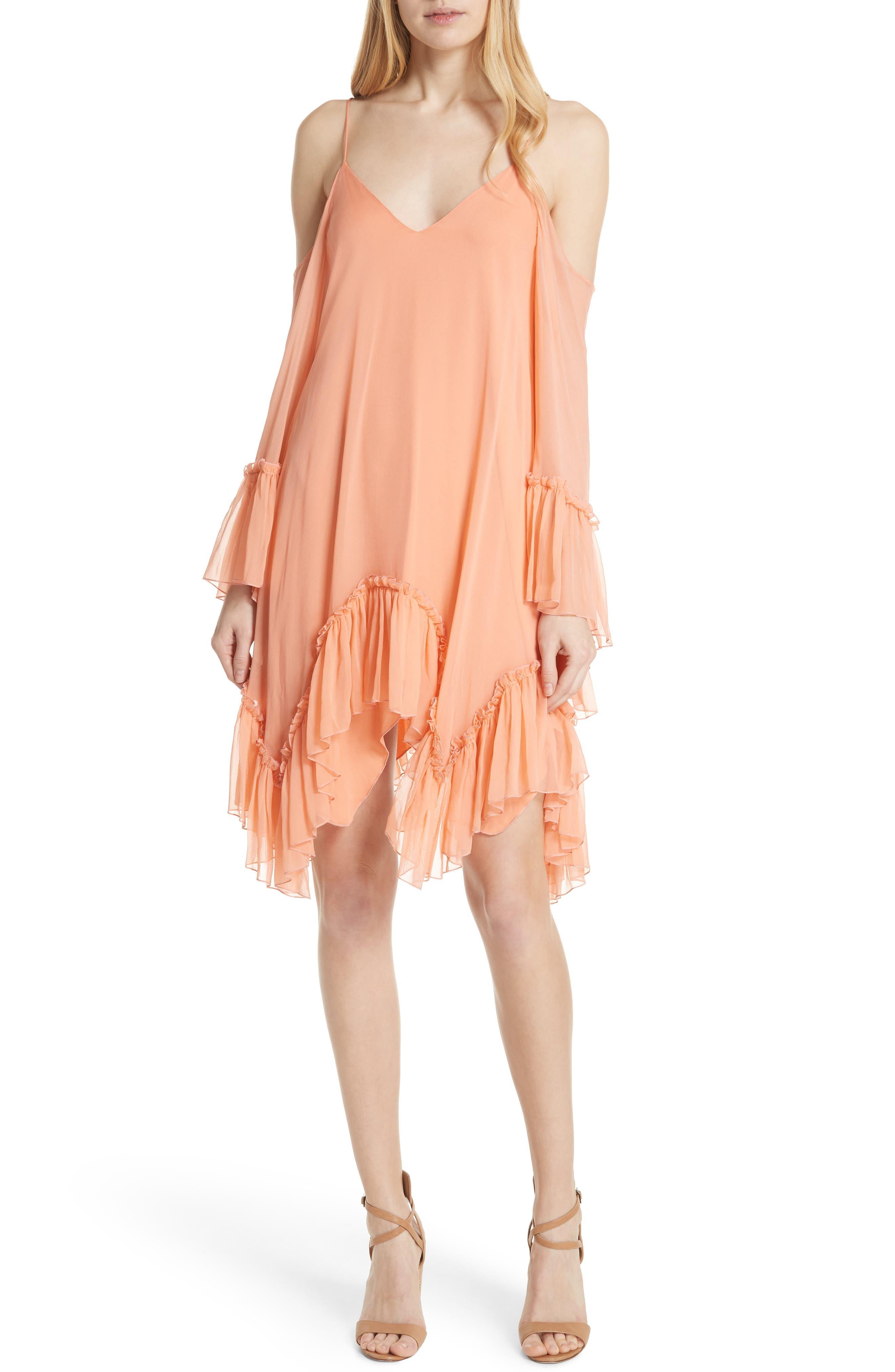 Ilaria Ruffle Cold Shoulder Silk Dress,                             Main thumbnail 1, color,                             Peach