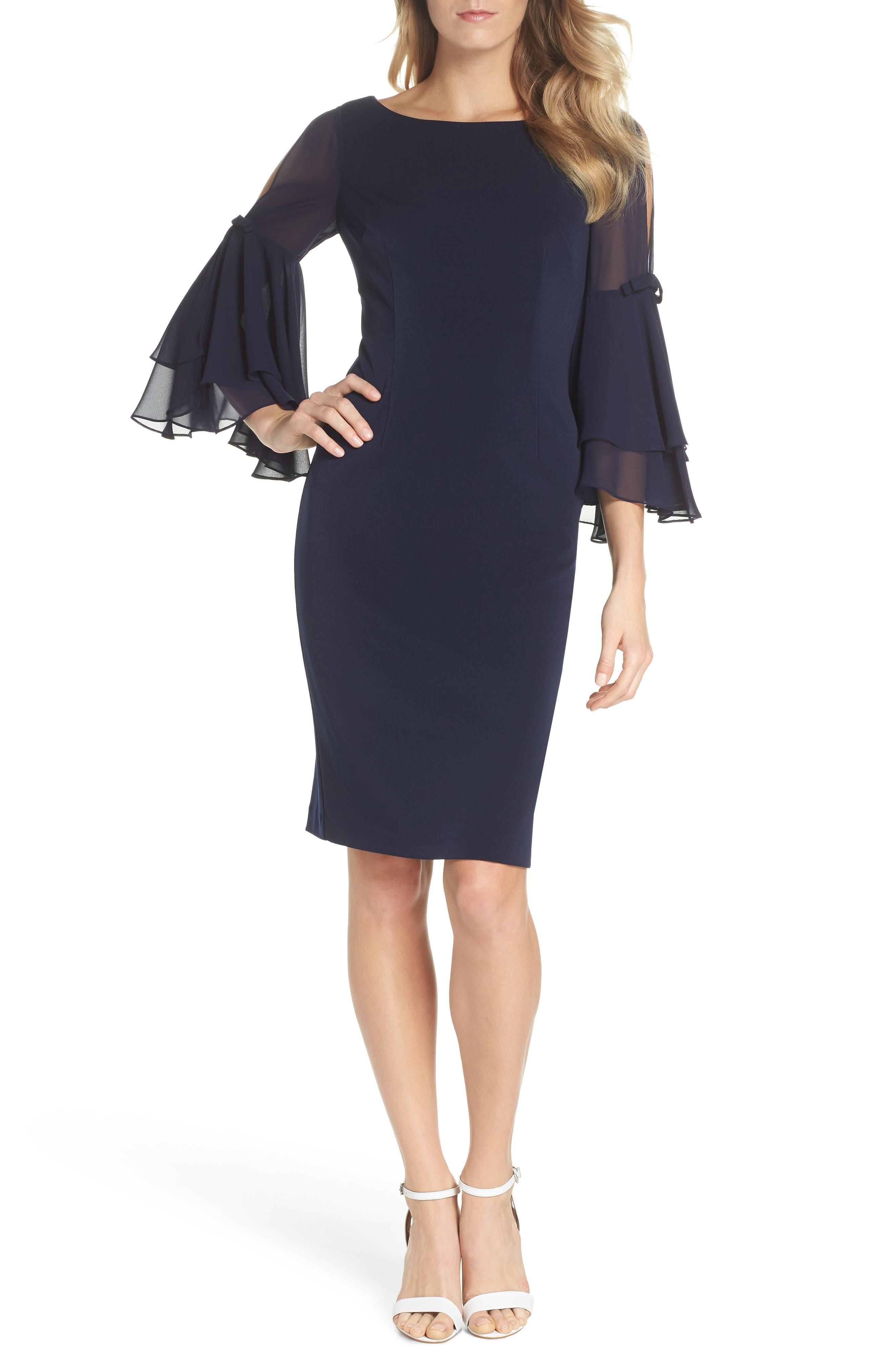 Ruffle Sleeve Scuba Shift Dress,                         Main,                         color, Navy