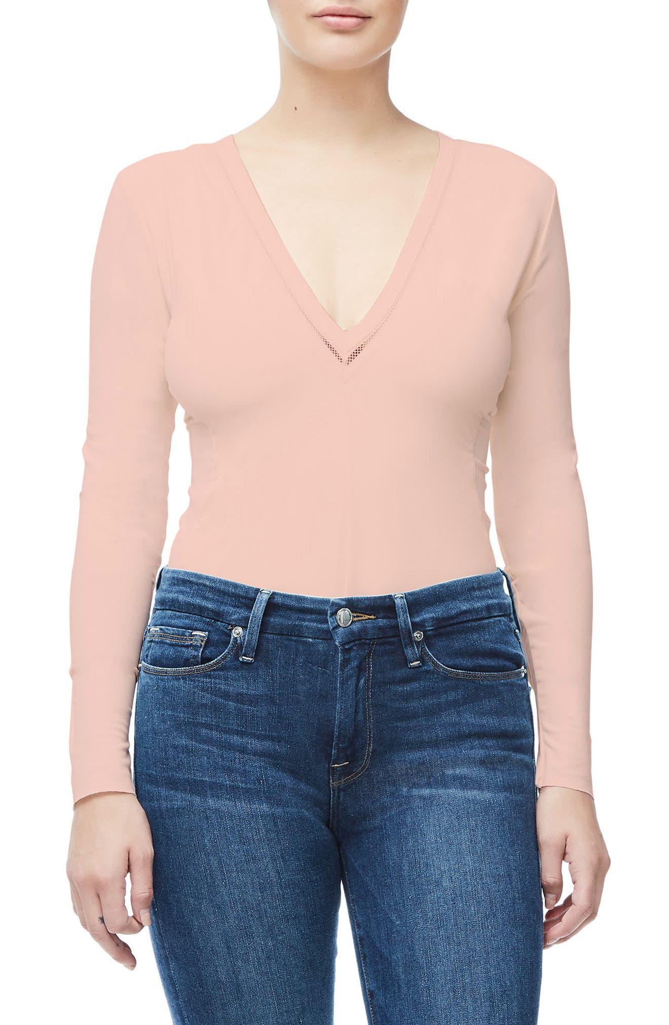 Good Body Low Down Thong Bodysuit,                         Main,                         color, Blush001