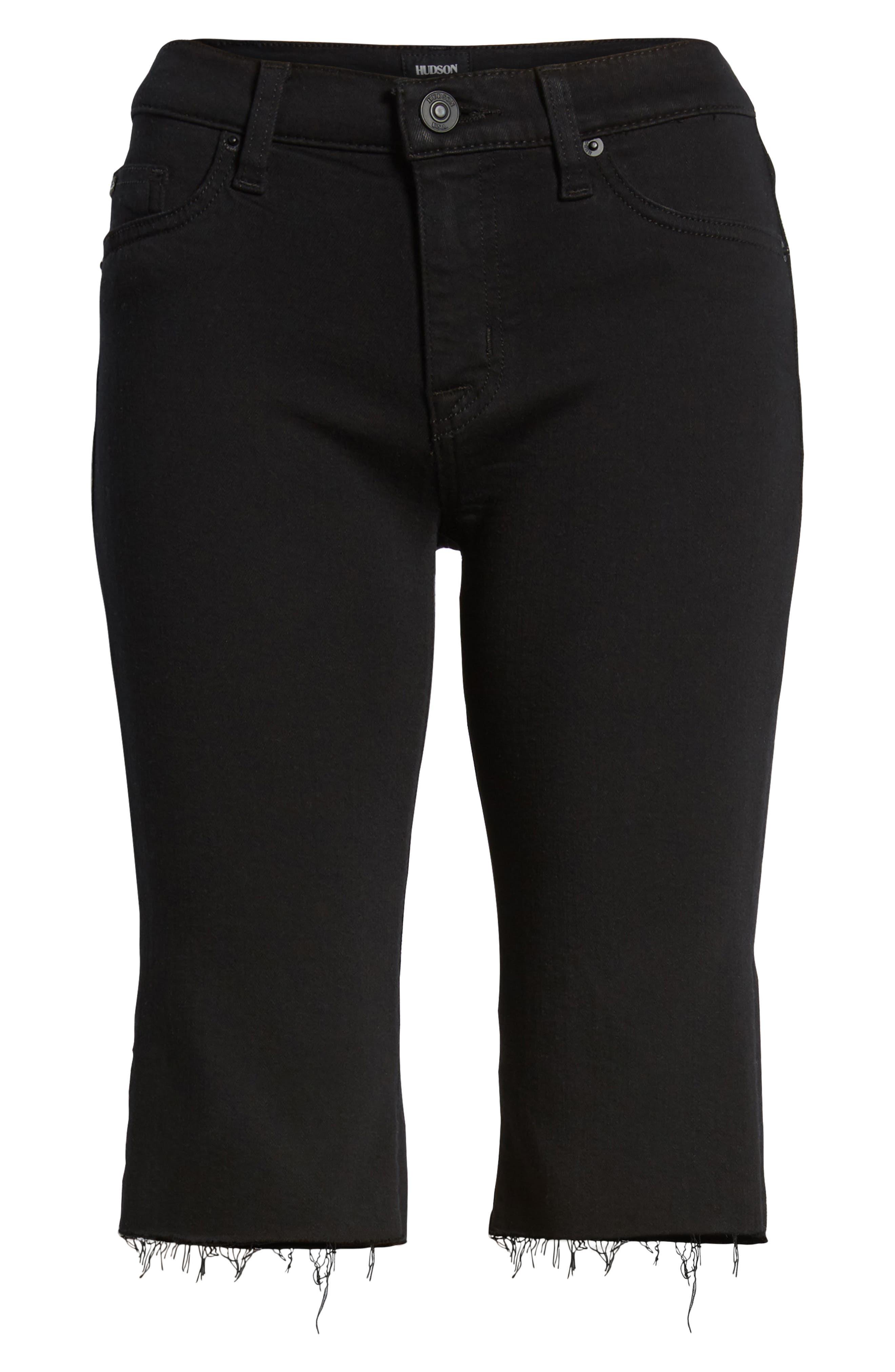 Amelia Cutoff Knee Shorts,                             Alternate thumbnail 7, color,                             Black
