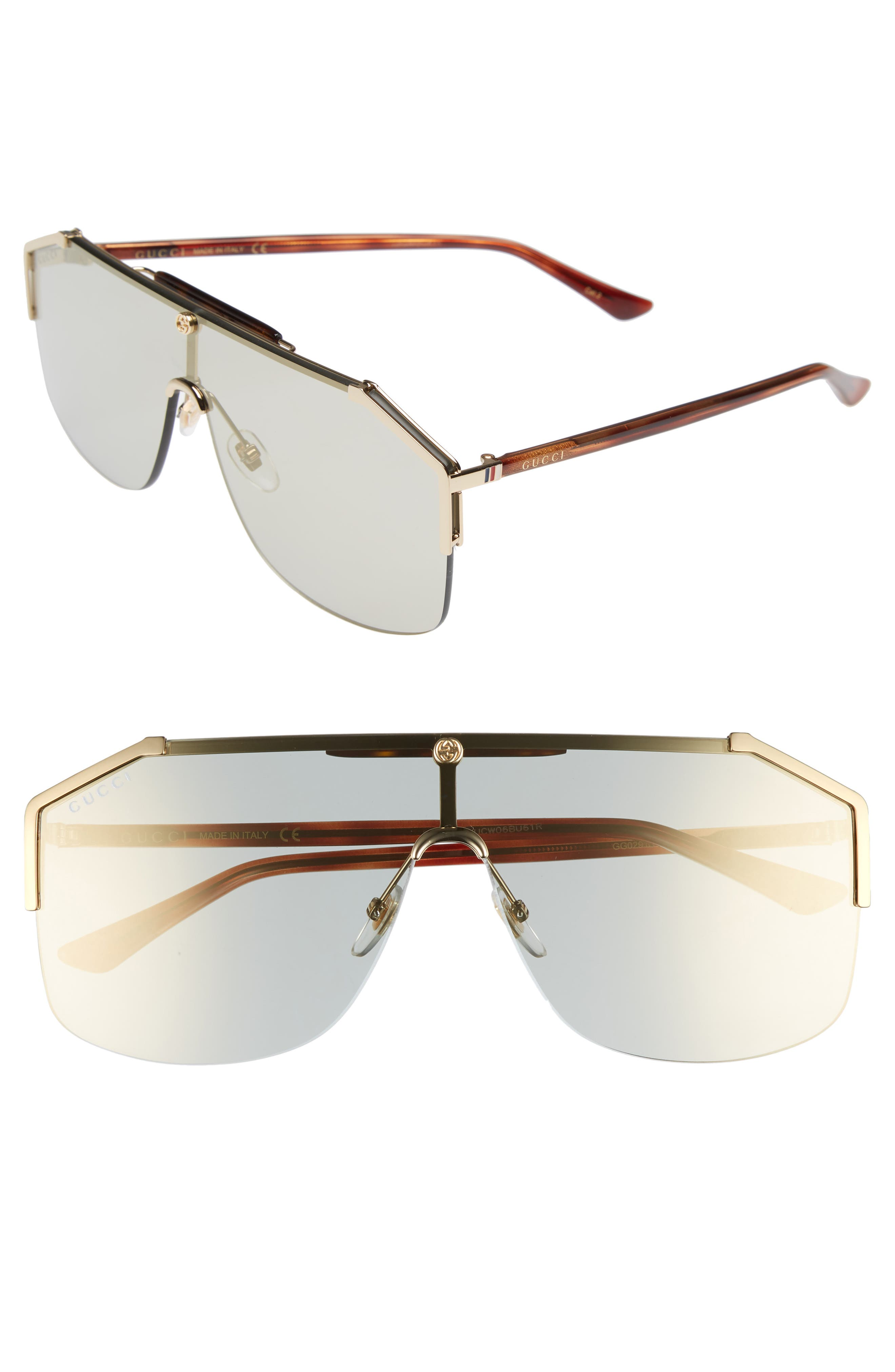 Gucci Retro Web Shield 62mm Sunglasses