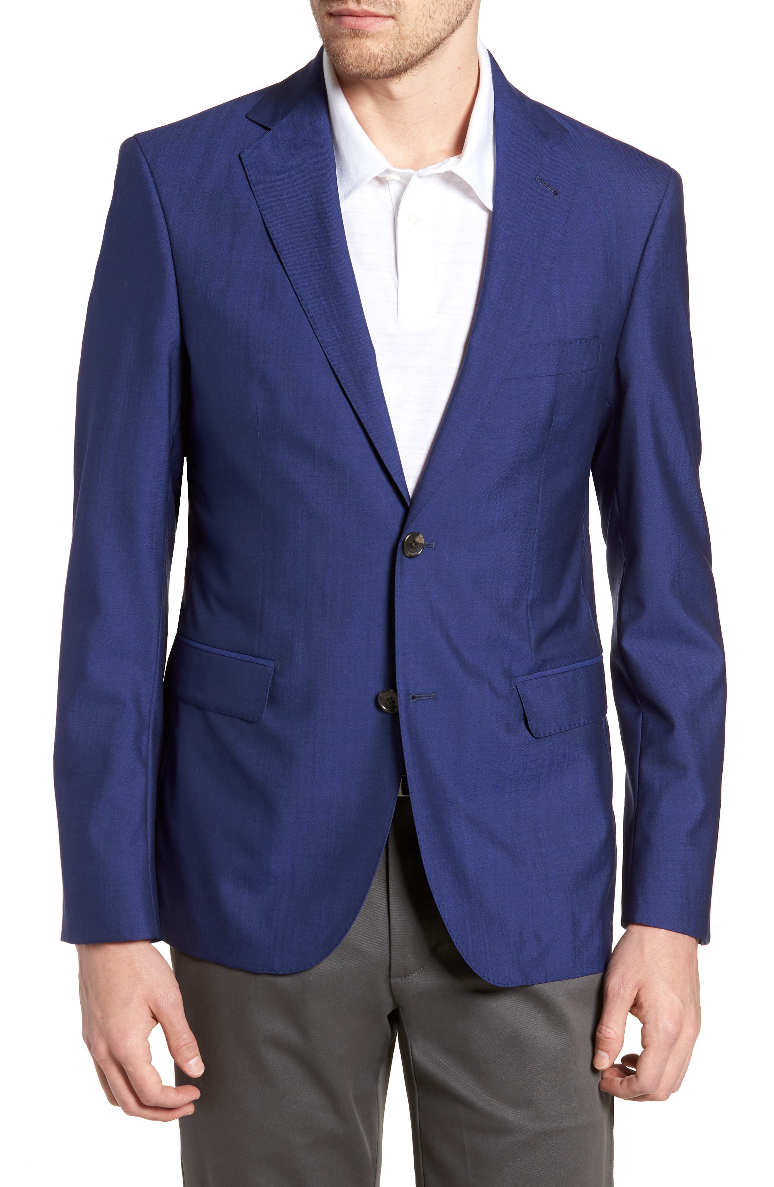 Shelby Trim Fit Wool Blazer,                             Main thumbnail 1, color,                             High Blue