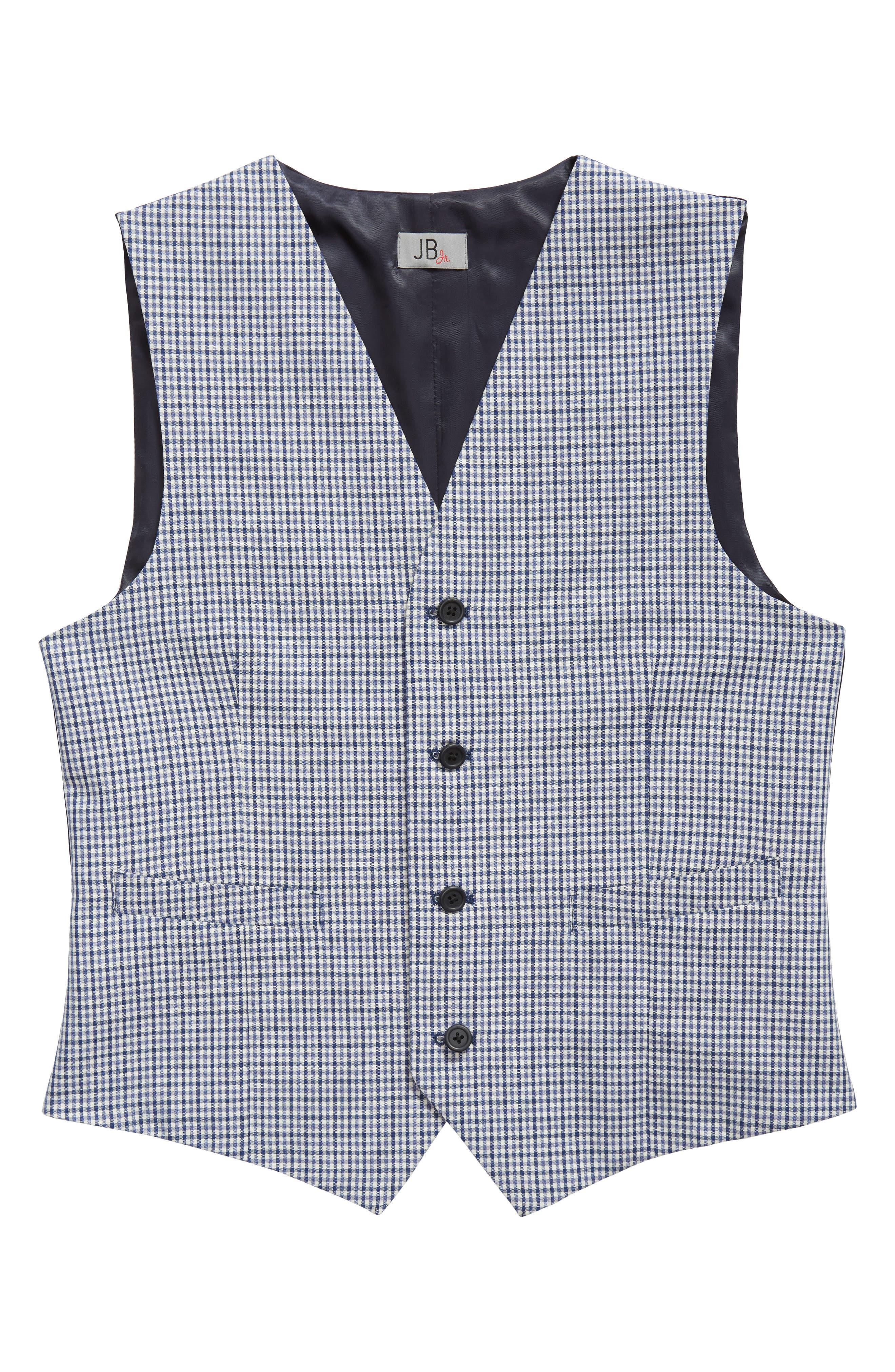 Check Wool Vest,                         Main,                         color, Blue