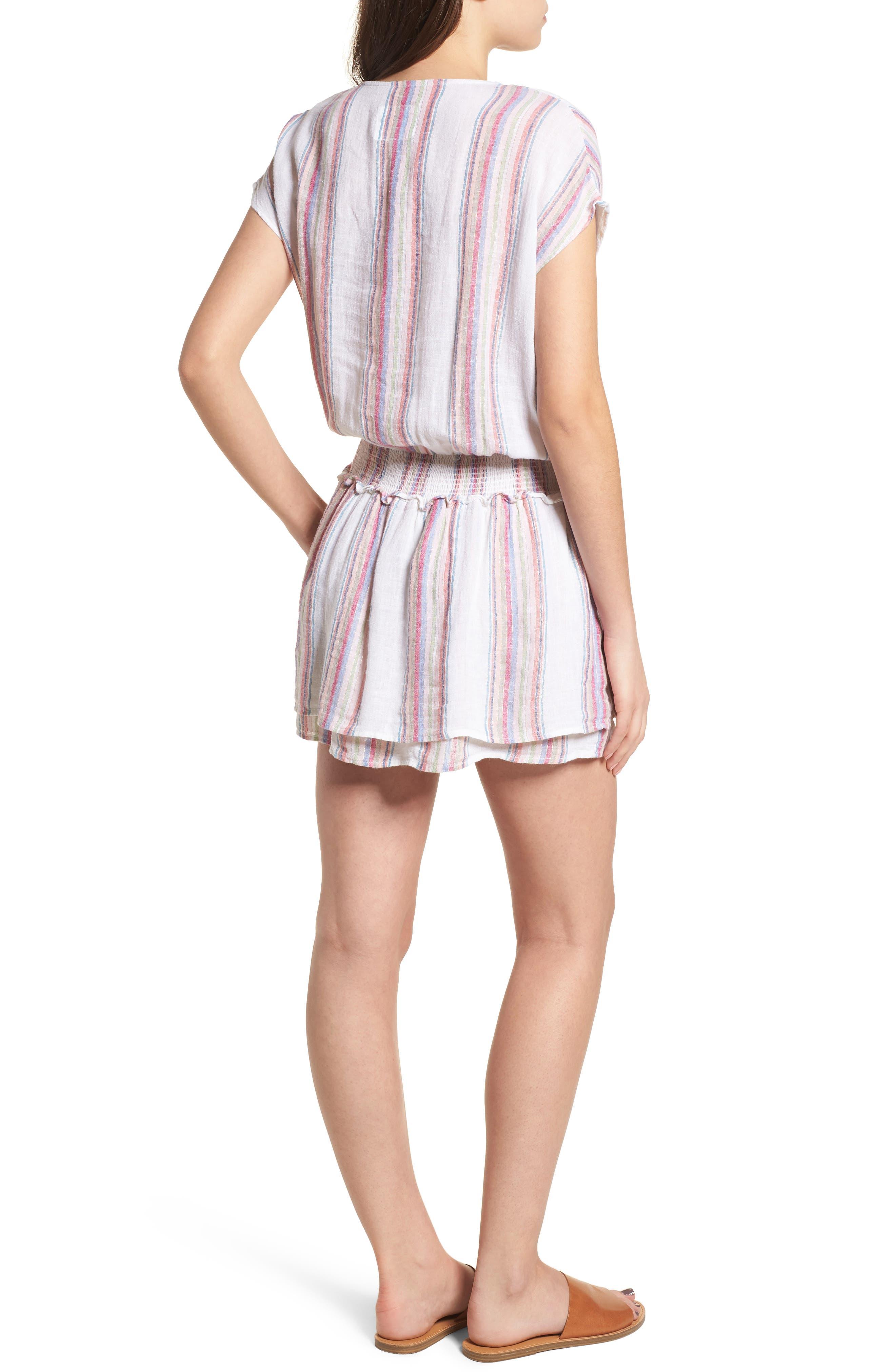Lucca Linen Blend Dress,                             Alternate thumbnail 2, color,                             Havana Stripe
