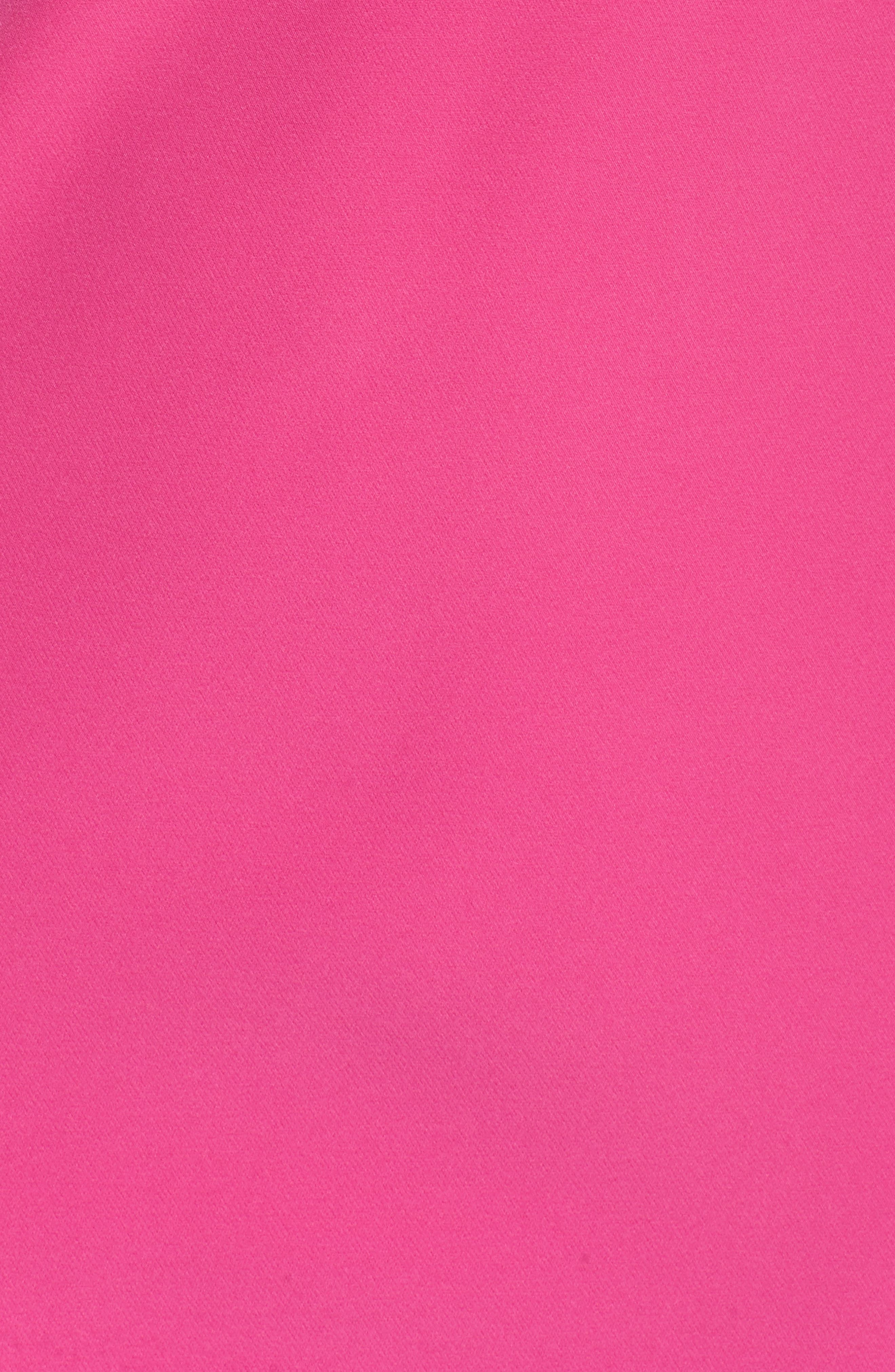 One Shoulder Bow Sheath Dress,                             Alternate thumbnail 5, color,                             Fuchsia