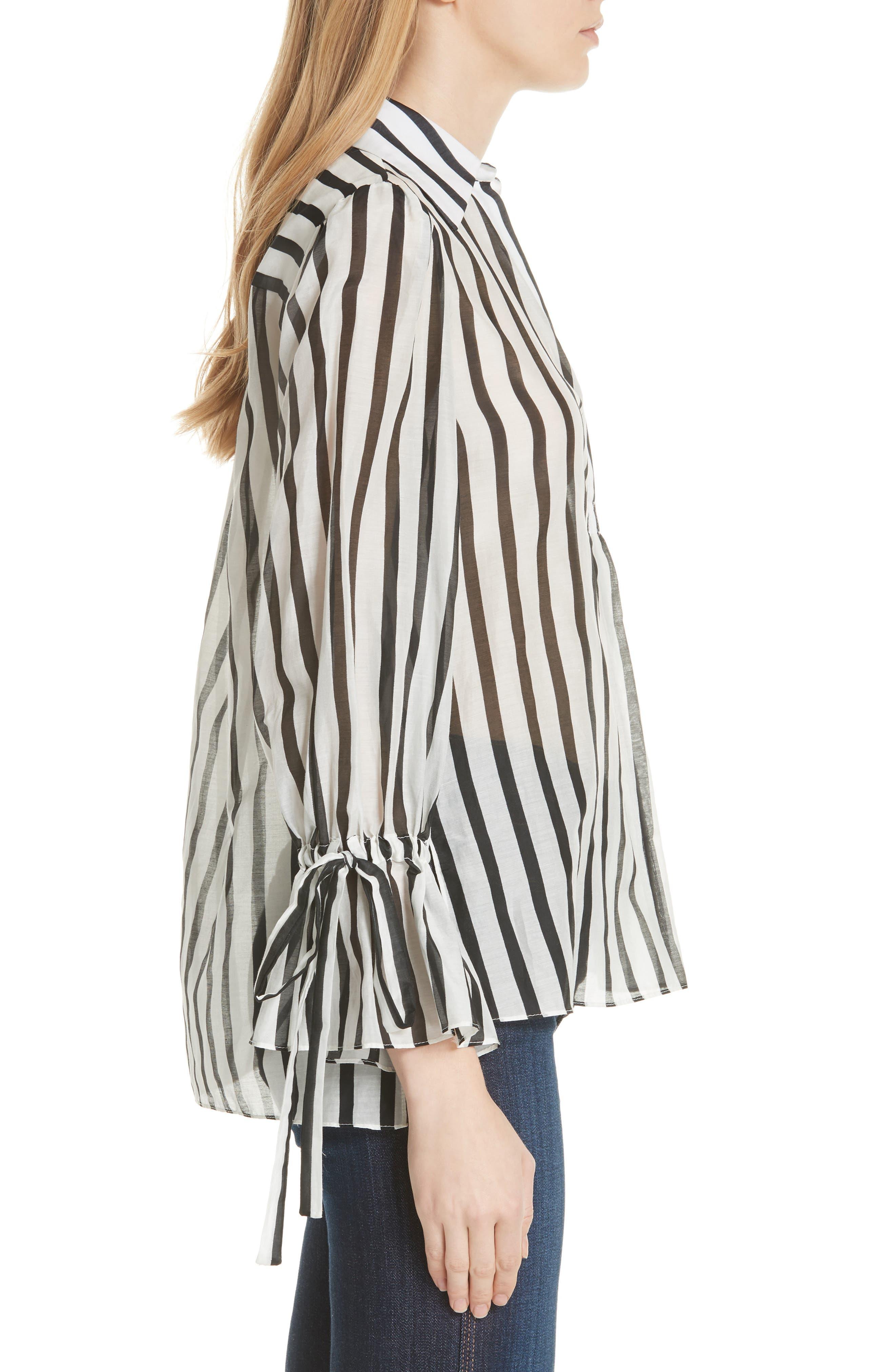 Geraldine Bow Sleeve Stripe Cotton Silk Tunic Top,                             Alternate thumbnail 3, color,                             Monochrome Stripe