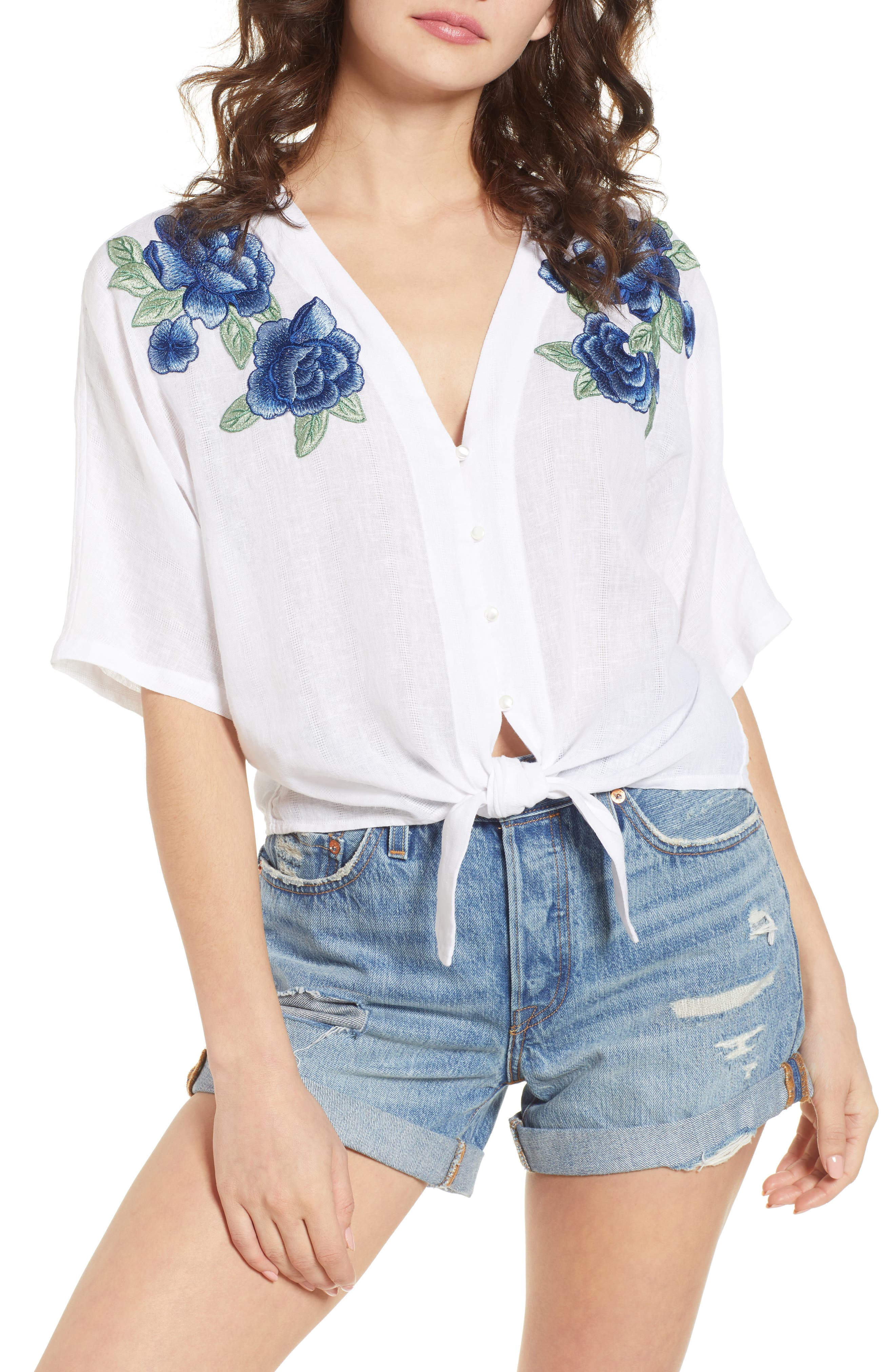 Thea Embroidered Tie Front Crop Top,                             Main thumbnail 1, color,                             Blue Rose Embroidery
