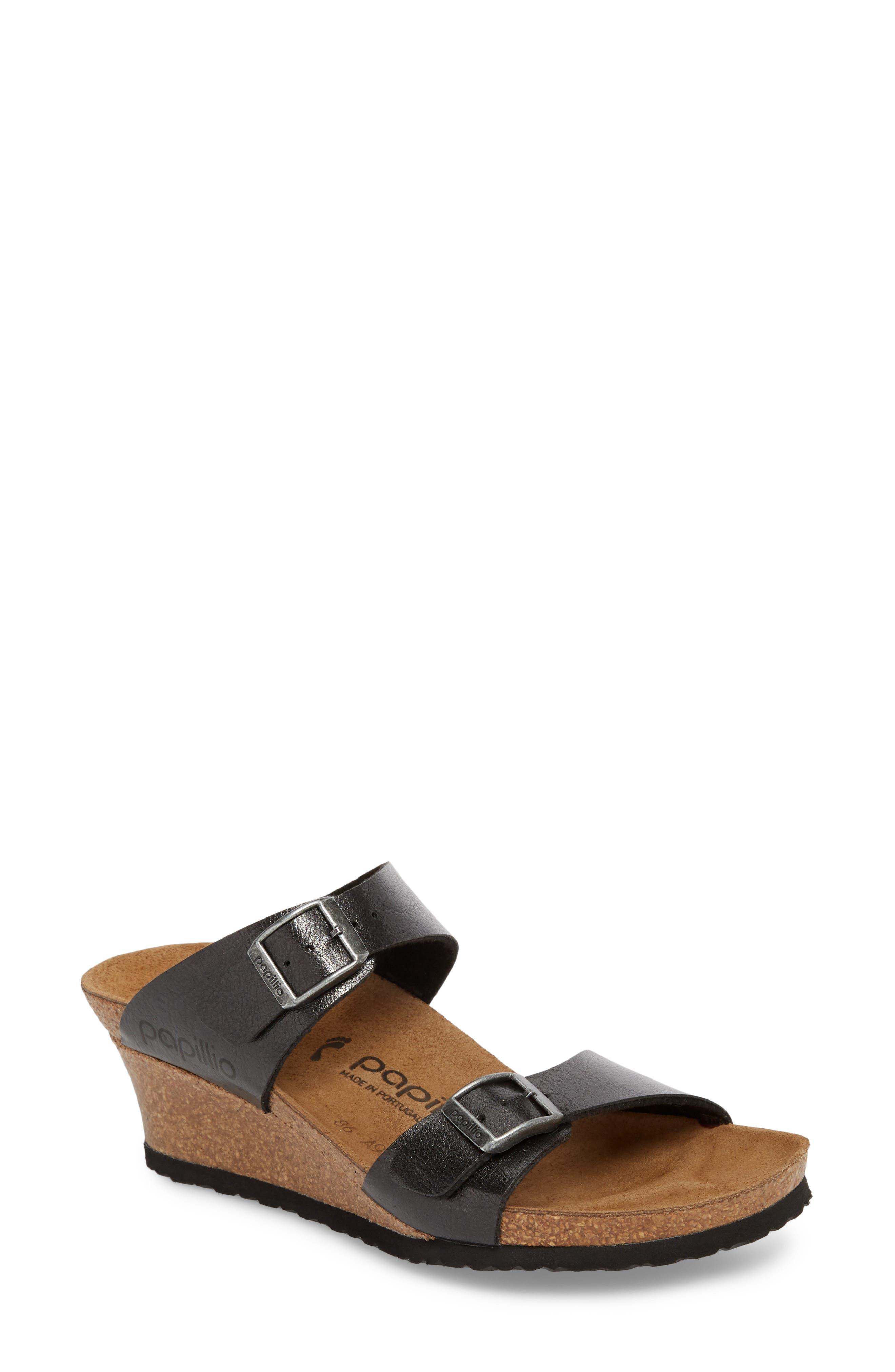 Papillio by Birkenstock Dorothy Wedge Slide Sandal,                             Main thumbnail 1, color,                             Graceful Licorice Leather