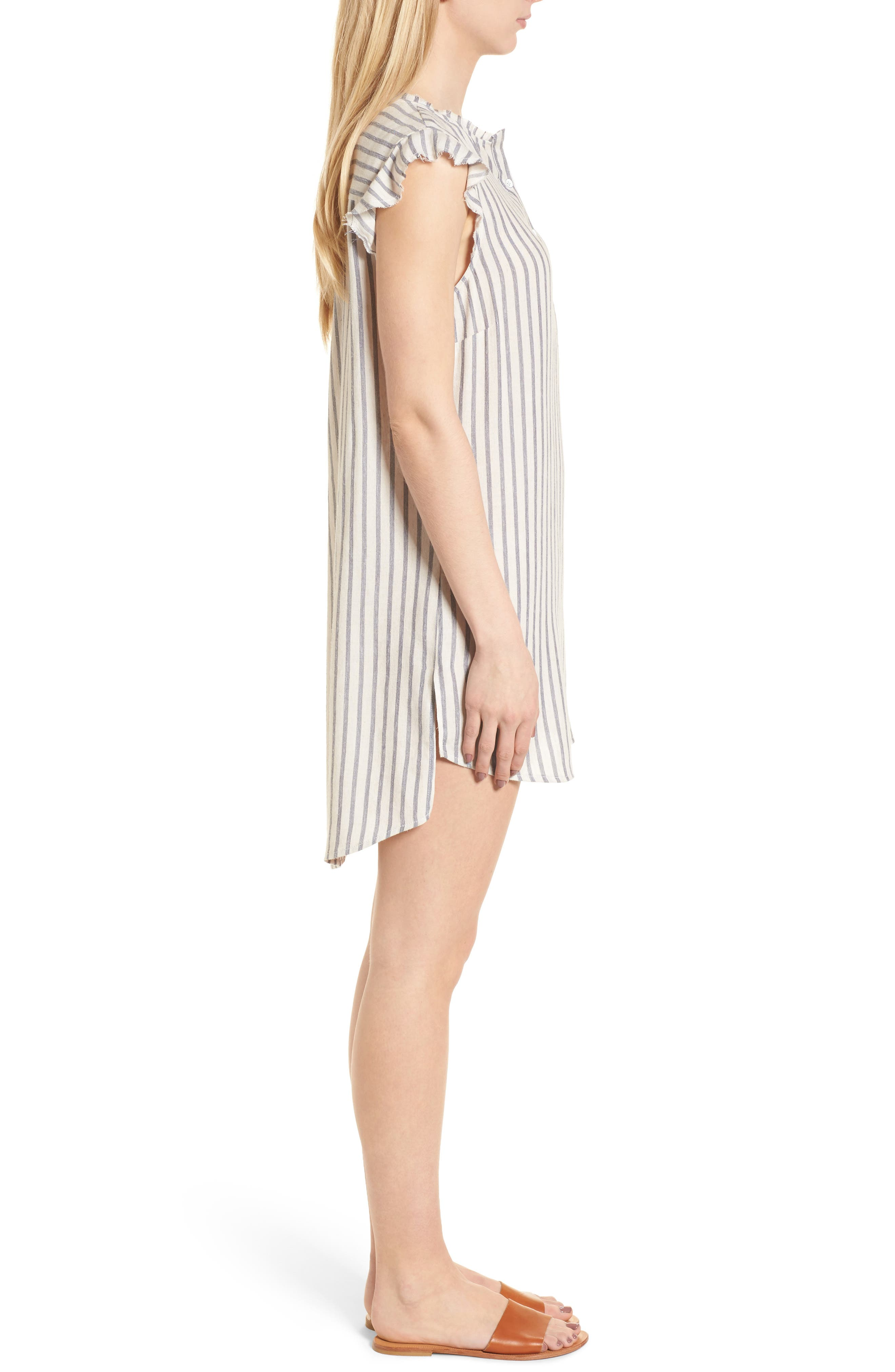 Stripe Ruffle Sleeve Shift Dress,                             Alternate thumbnail 3, color,                             Off White/ Blue