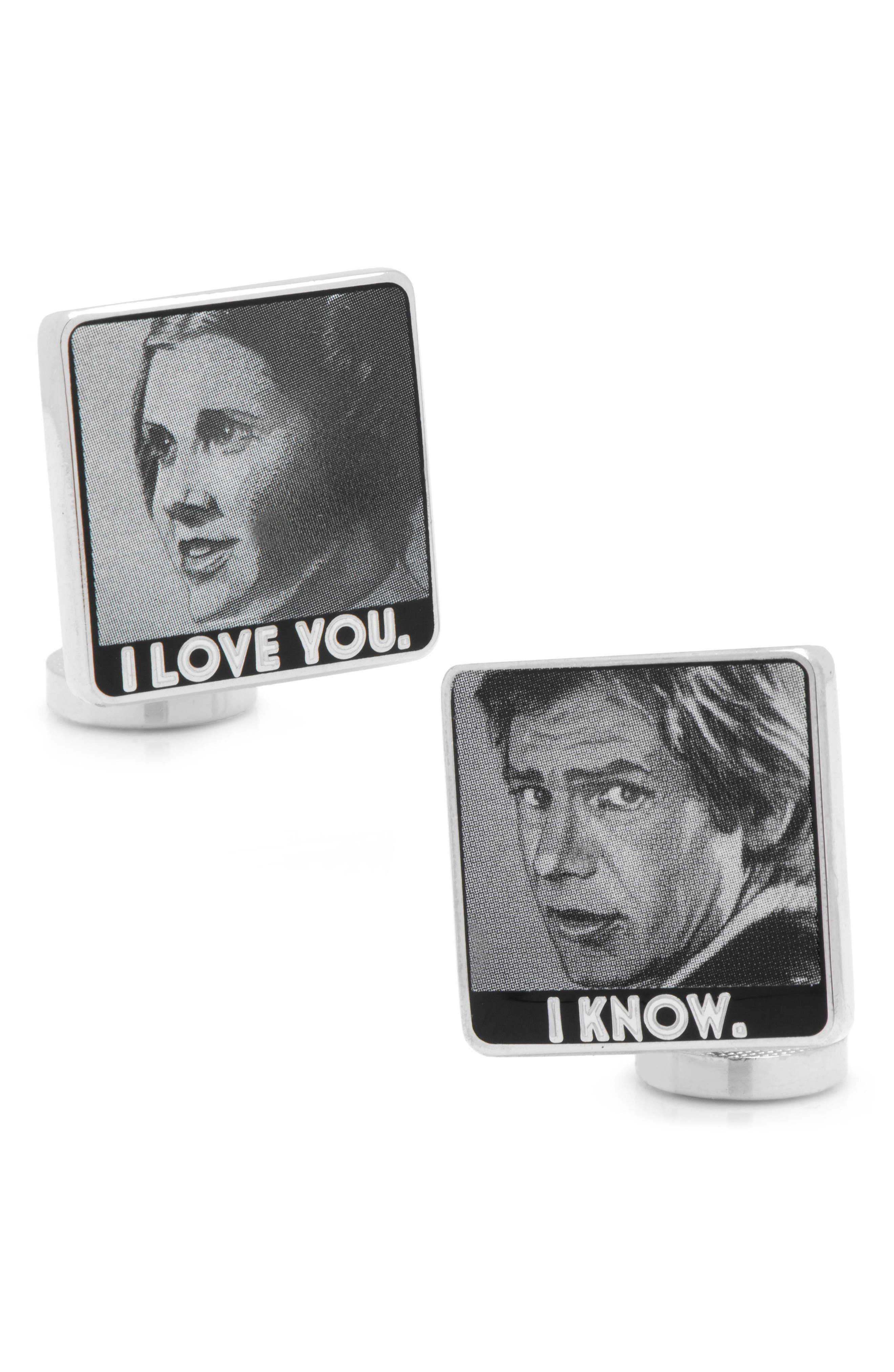 I Love You/I Know Cuff Links,                         Main,                         color, Grey/ White