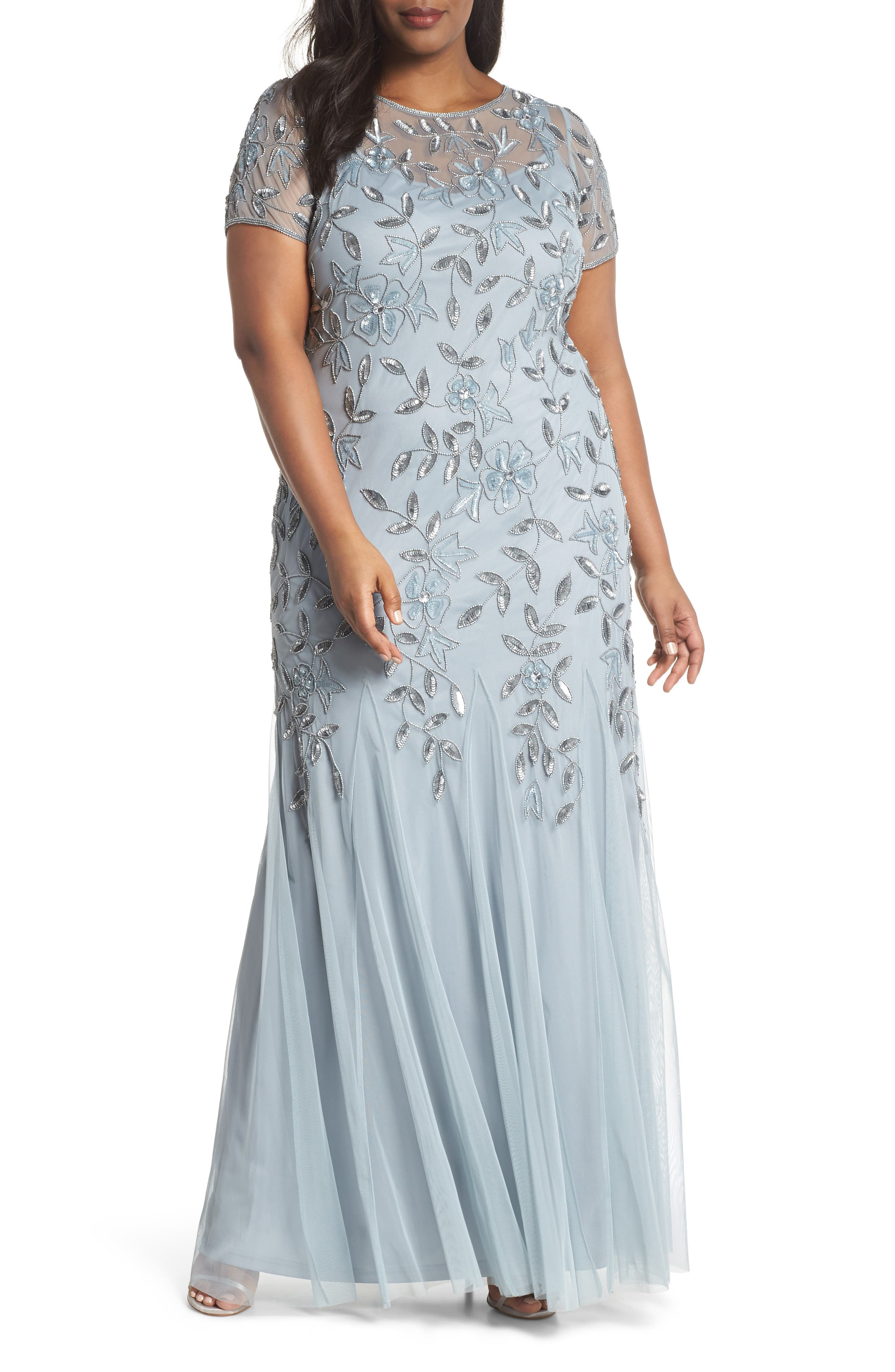 Floral Beaded Godet Gown,                             Main thumbnail 1, color,                             Blue Heather