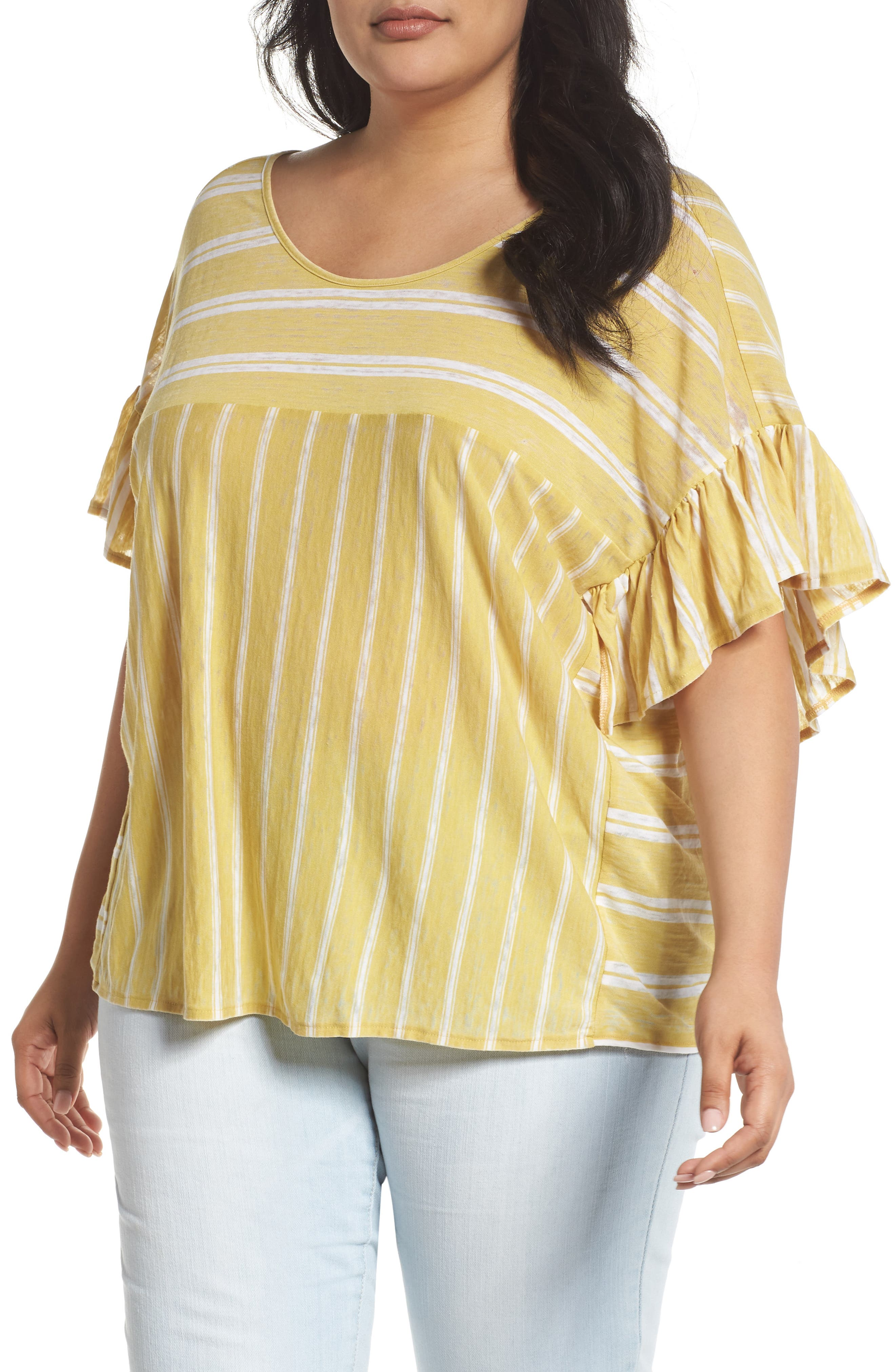 Lucky Brand Ruffle Sleeve Mix Stripe Ruffle Tee (Plus Size)