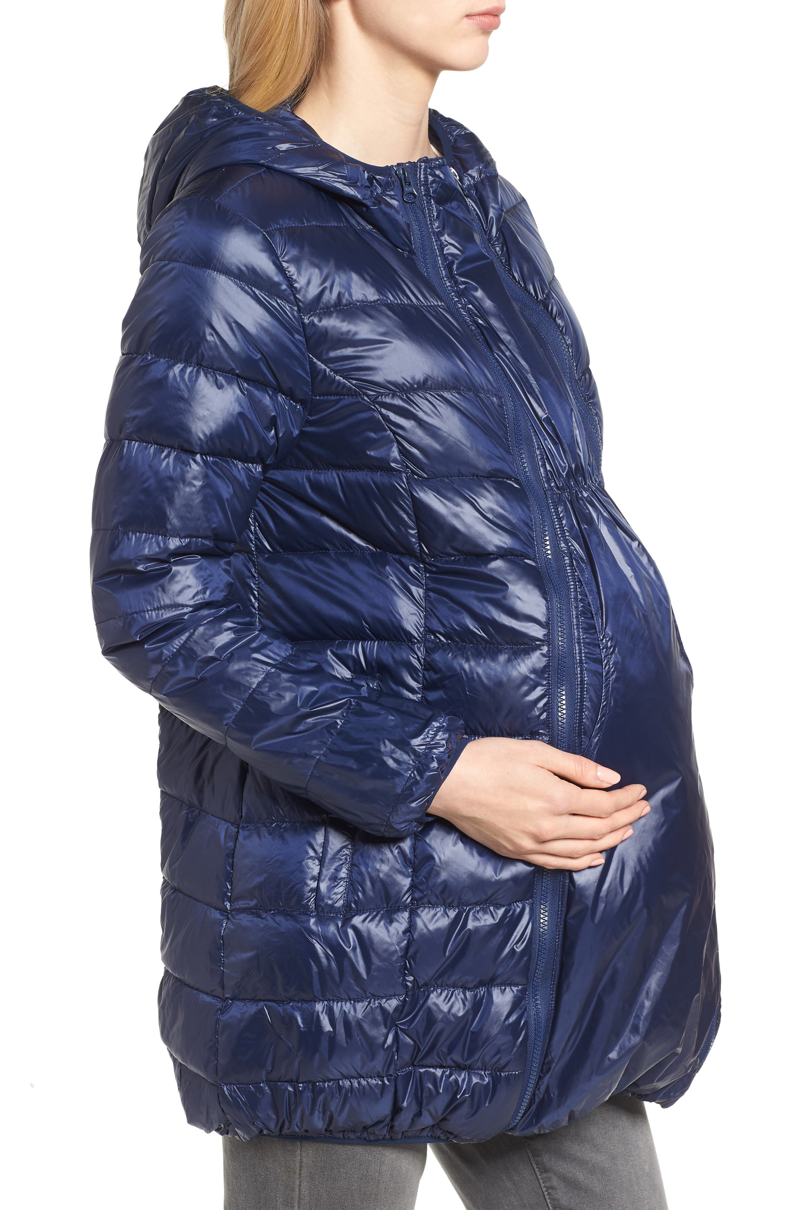 Lightweight Down 3-in-1 Maternity/Nursing Jacket,                             Alternate thumbnail 4, color,                             Navy